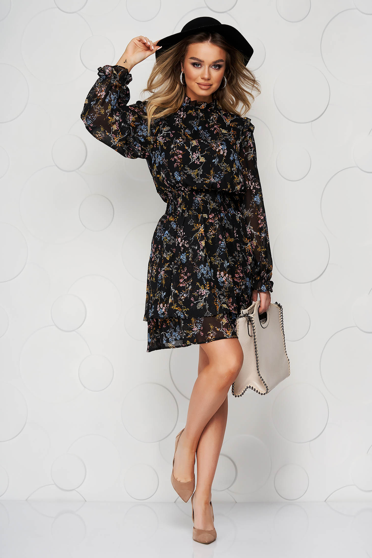 Black dress with floral print cloche with elastic waist with inside lining from veil fabric