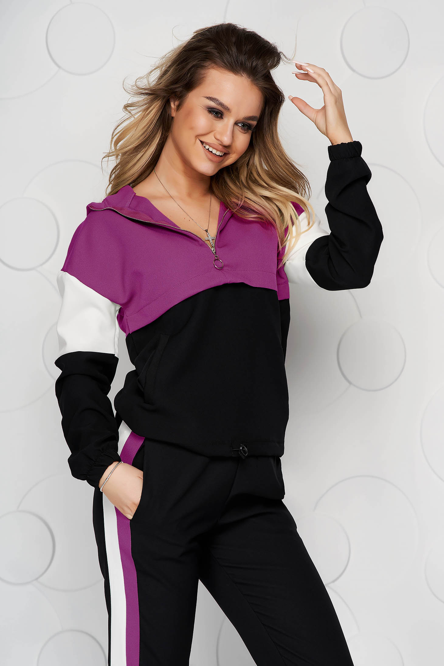 Fuchsia with easy cut thin fabric set with pockets with elastic waist