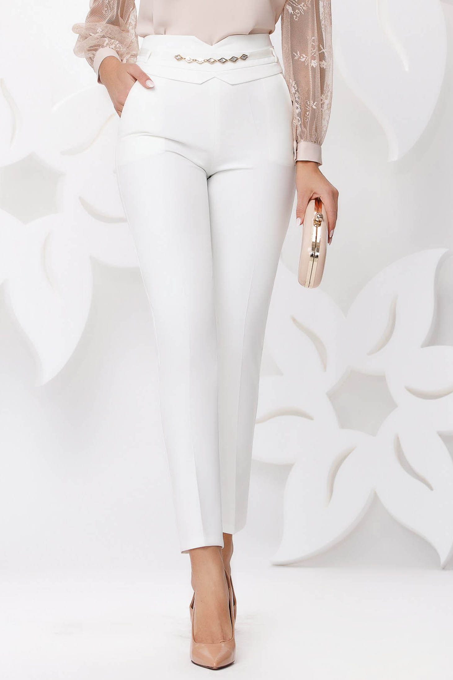White trousers elegant conical high waisted with pockets