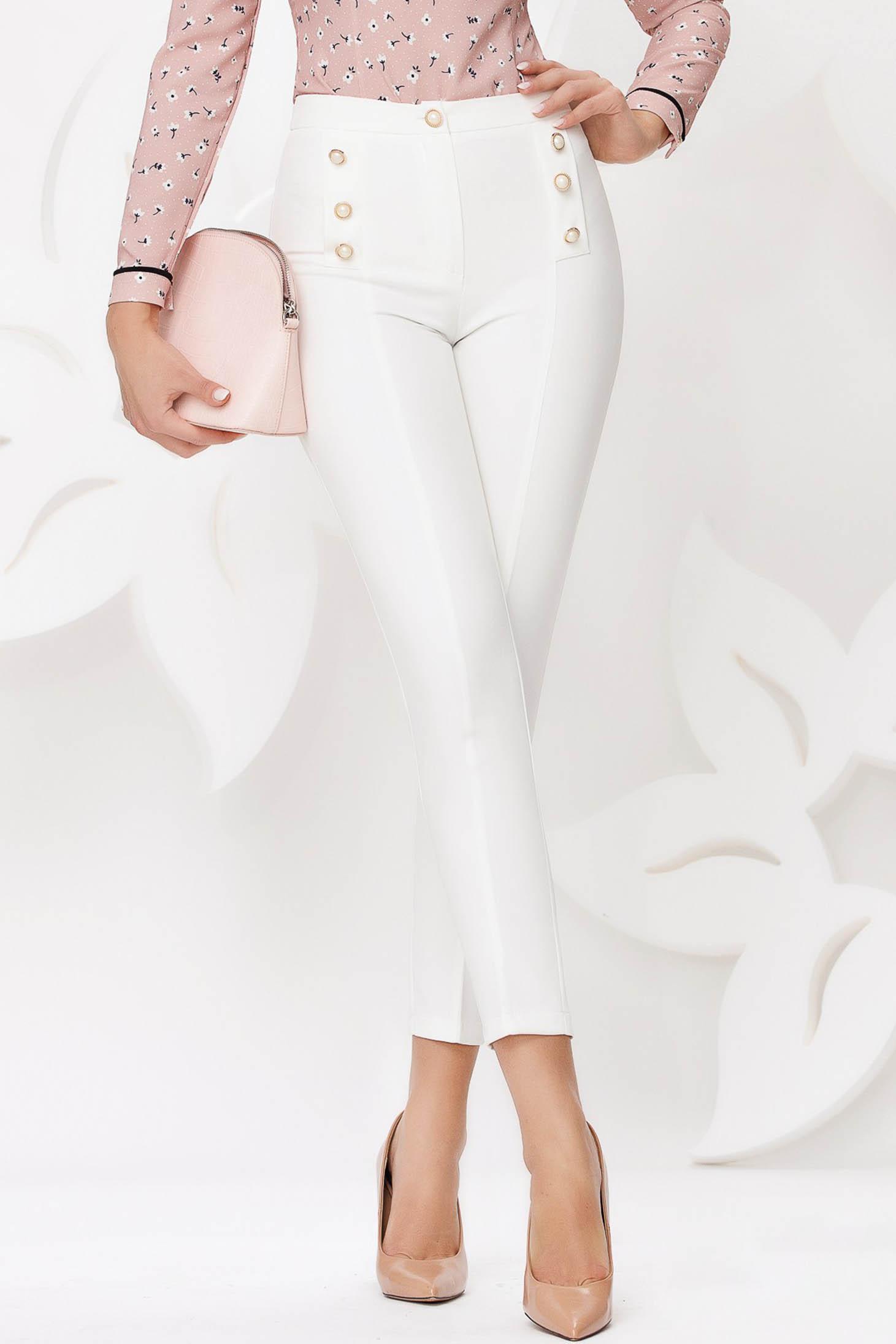 Pantaloni Fofy albi office conici cu talie inalta din stofa usor elastica accesorizati cu nasturi