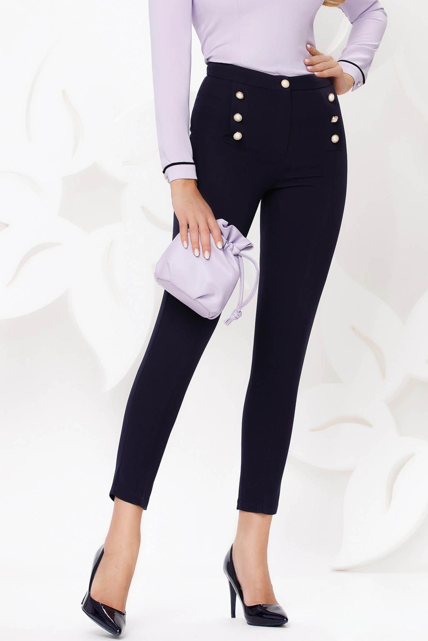 Pantaloni Fofy albastru-inchis office conici cu talie inalta din stofa usor elastica accesorizati cu nasturi