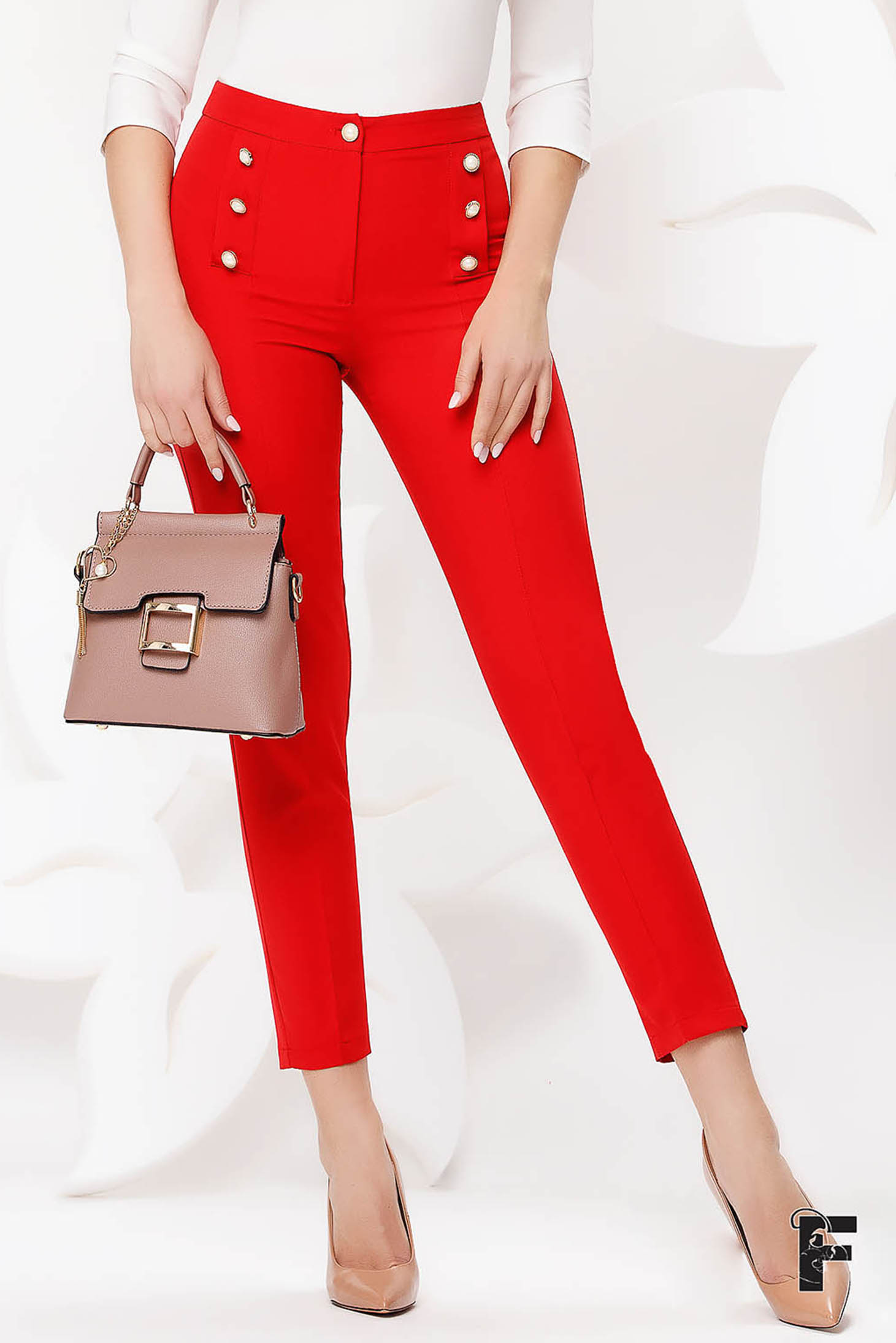 Trousers red office conical high waisted slightly elastic fabric with button accessories
