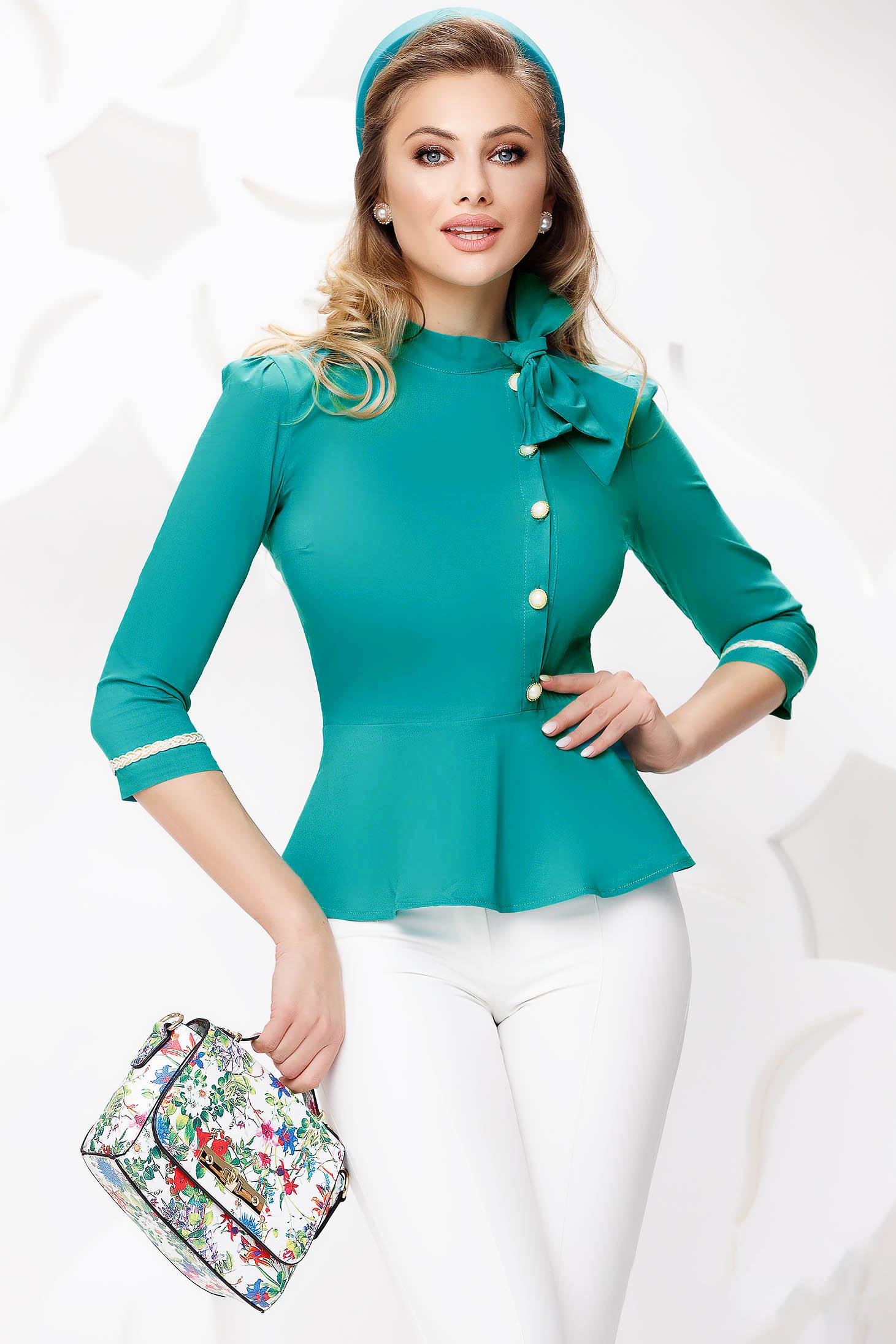 Camasa dama Fofy turquoise tip peplum cu funda si nasturi cu perle