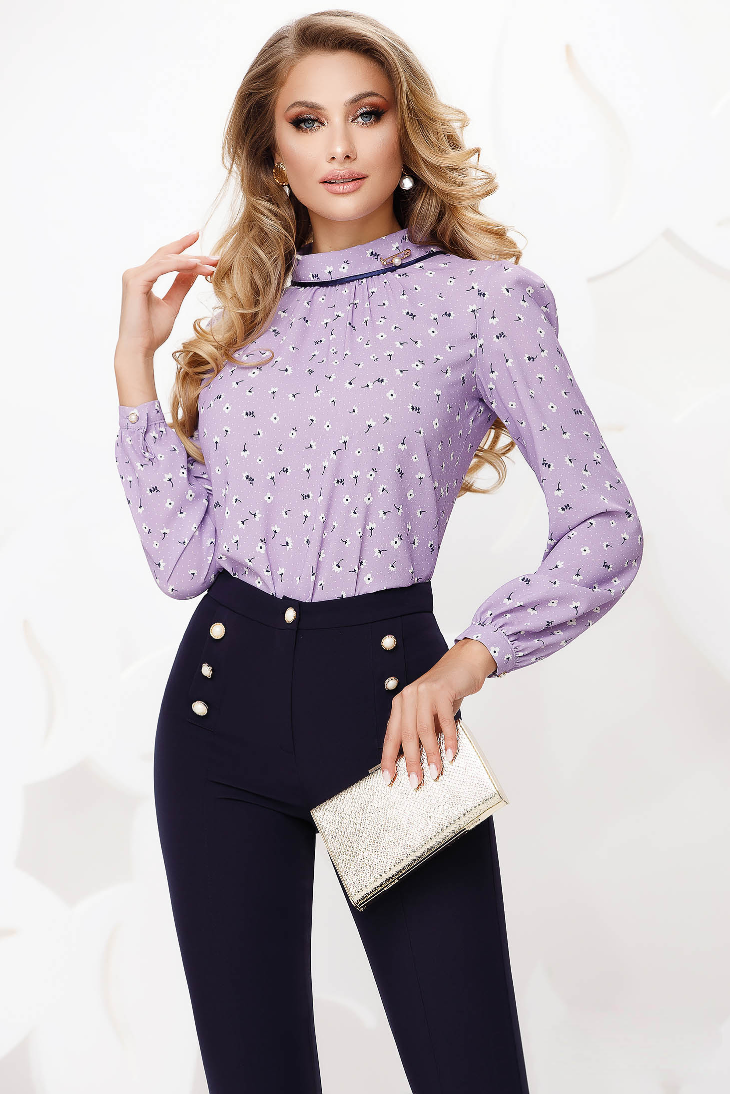 Lightpurple women`s blouse office loose fit with floral print