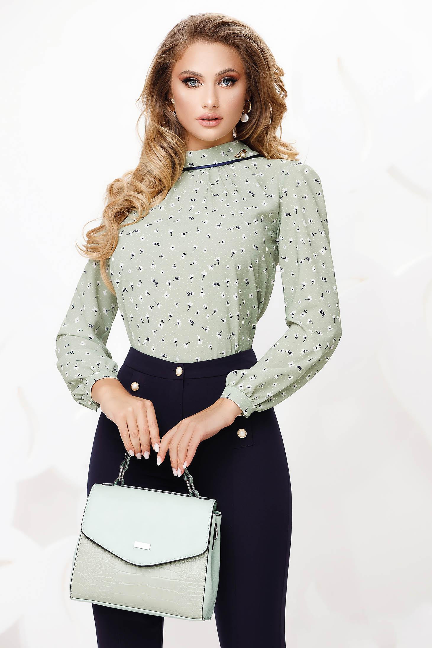 Bluza dama Fofy verde office cu croi larg si imprimeu floral
