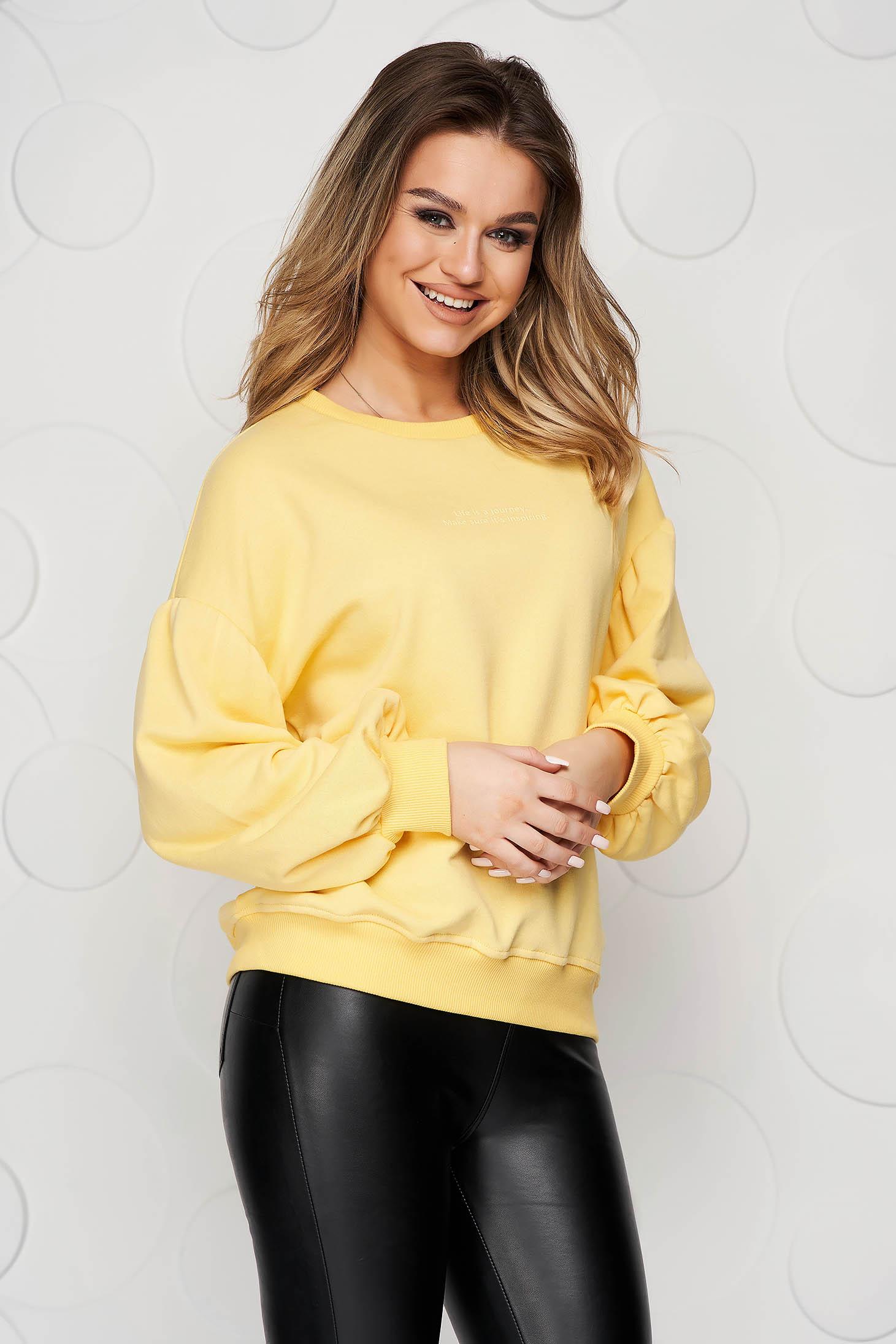 Bluza dama Top Secret galbena din bumbac cu croi larg si maneci trei-sferturi