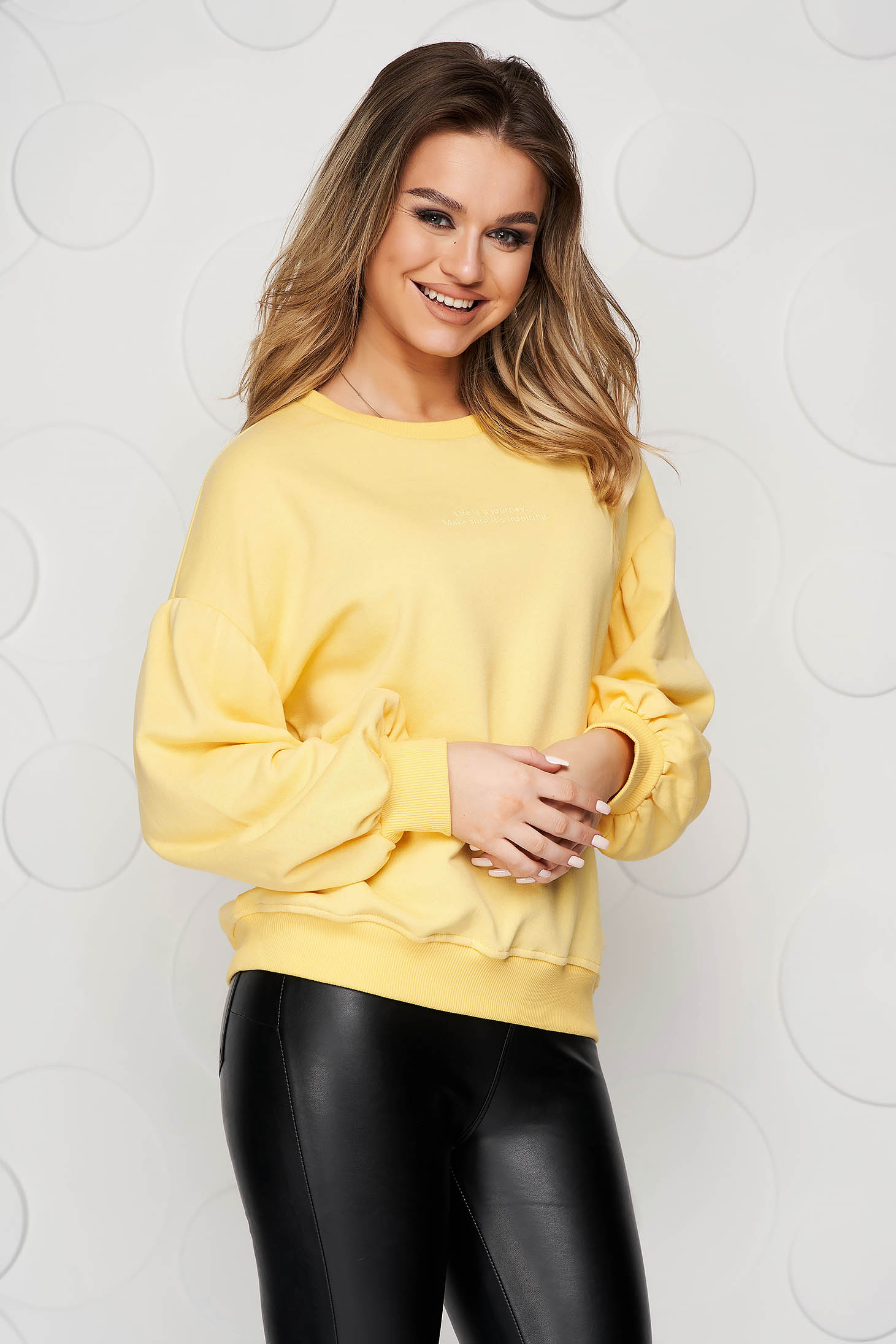 Yellow women`s blouse loose fit cotton with 3/4 sleeves