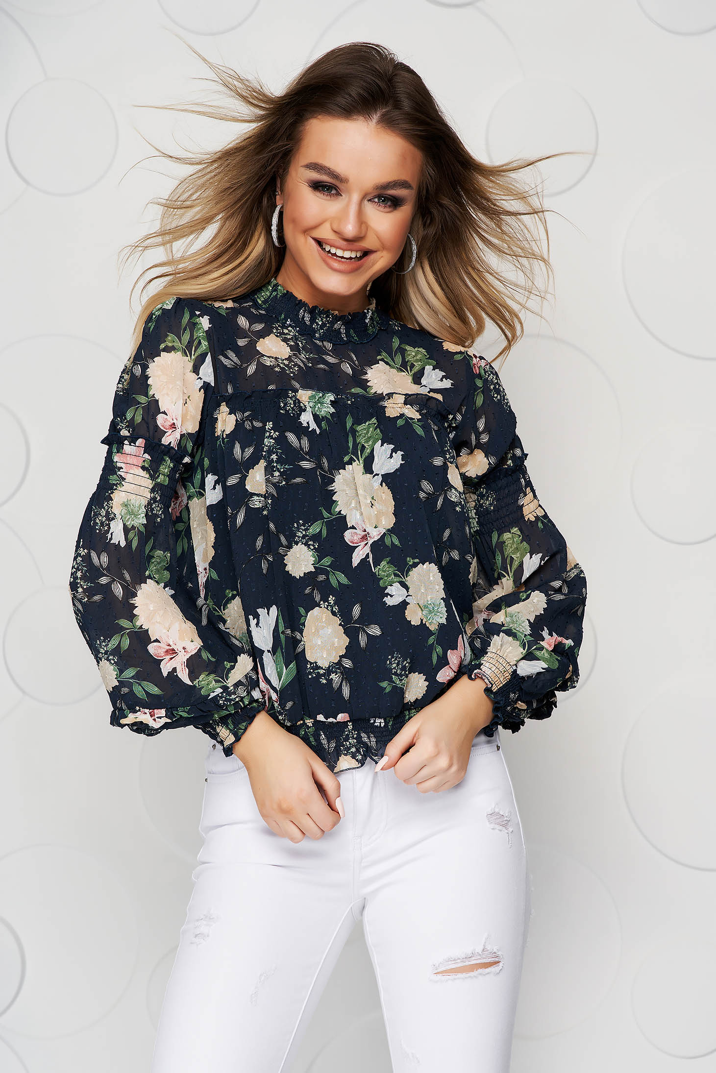 Darkblue women`s blouse with floral print from veil fabric loose fit with puffed sleeves