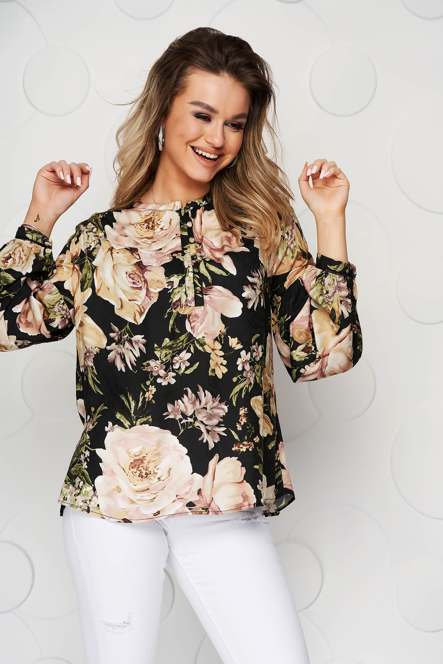 Bluza dama Top Secret neagra cu imprimeuri florale