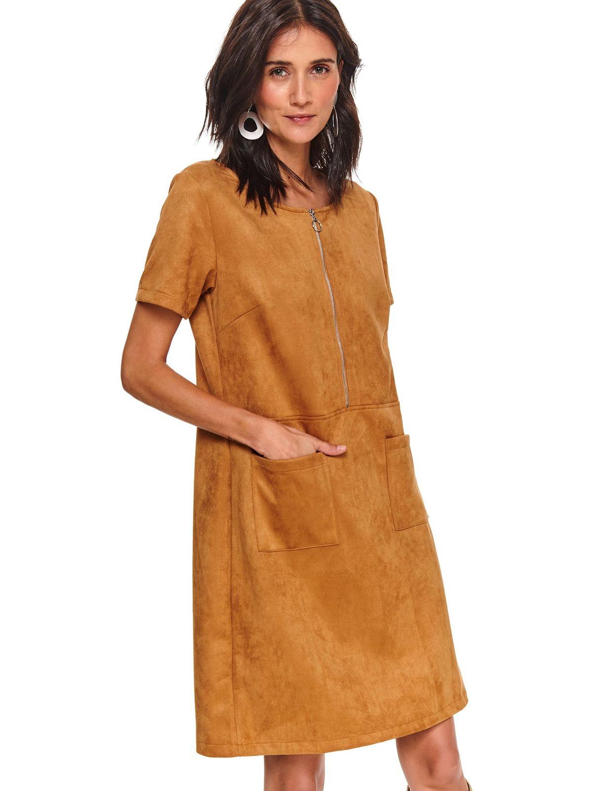 Lightbrown dress velvet a-line with pockets zipper accessory