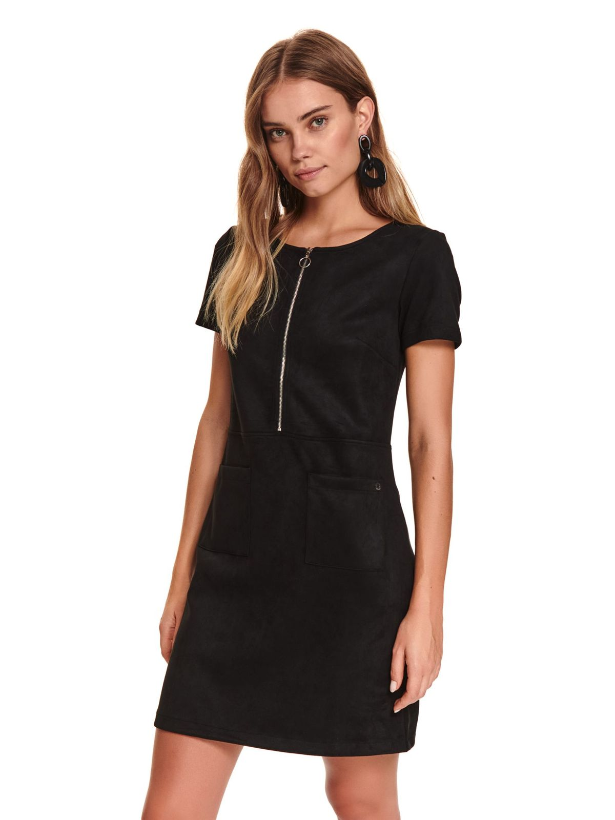 Black dress with pockets from elastic fabric zipper accessory straight