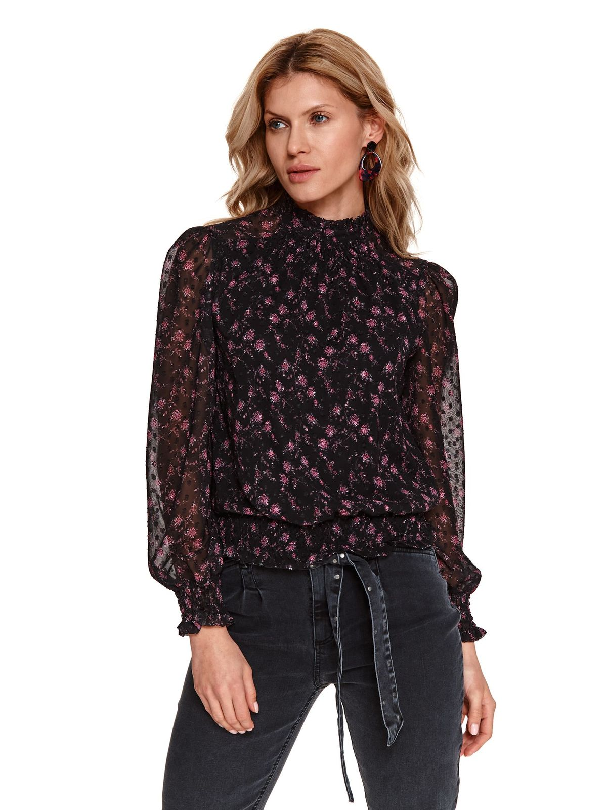 Black women`s blouse with floral print from veil fabric plumeti with puffed sleeves