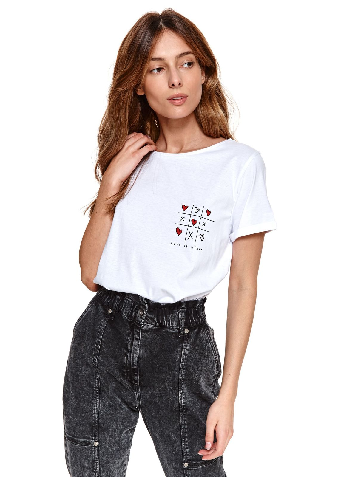 White t-shirt with graphic details loose fit cotton