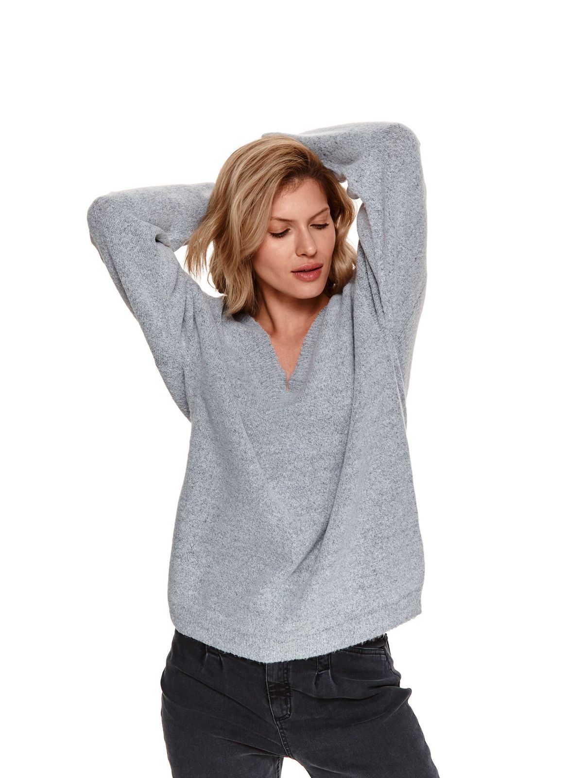 Pulover gri-deschis Top Secret din tricot pufos cu croi larg