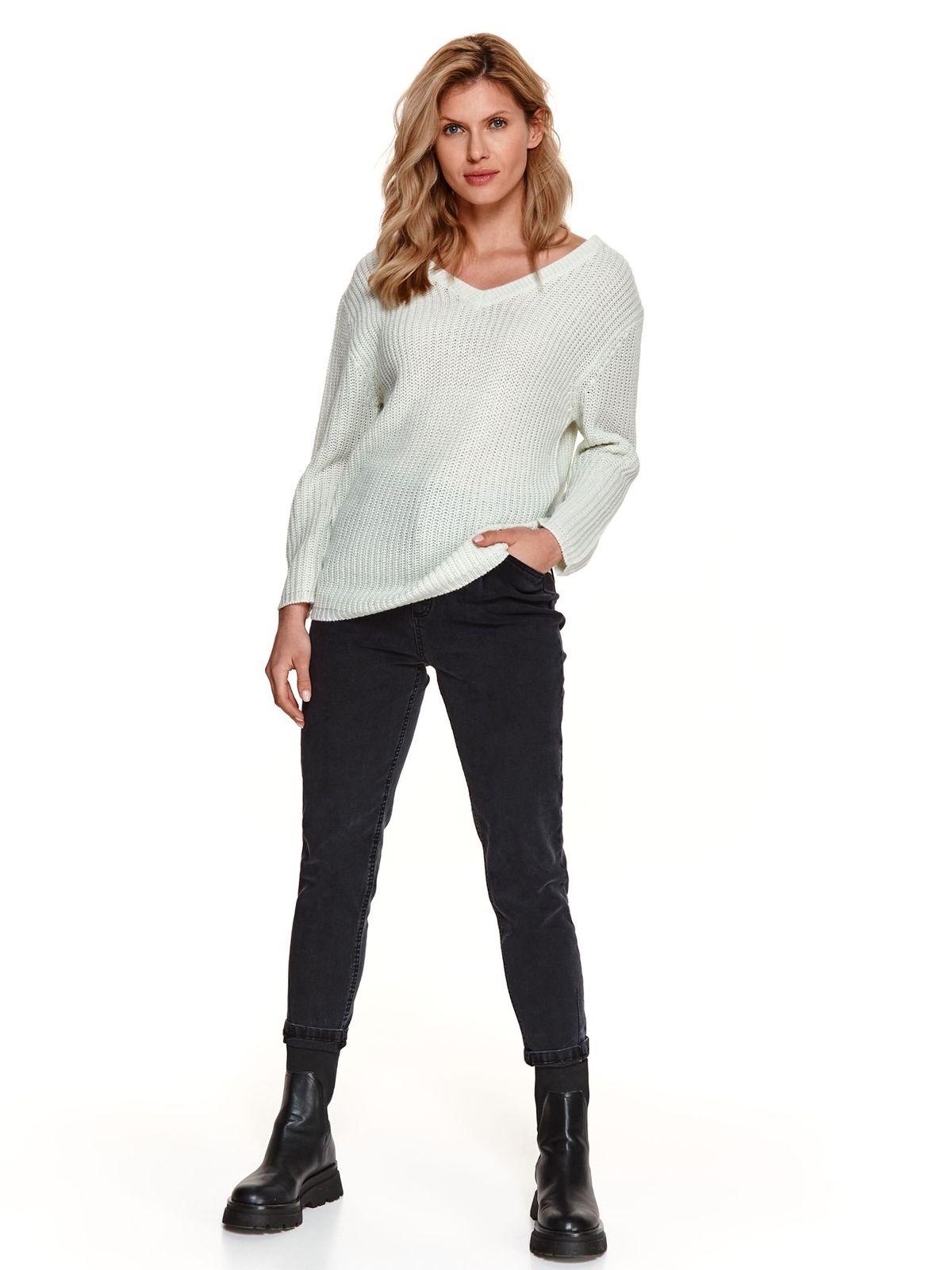 Pulover verde Top Secret din tricot elastic cu decolteu in v