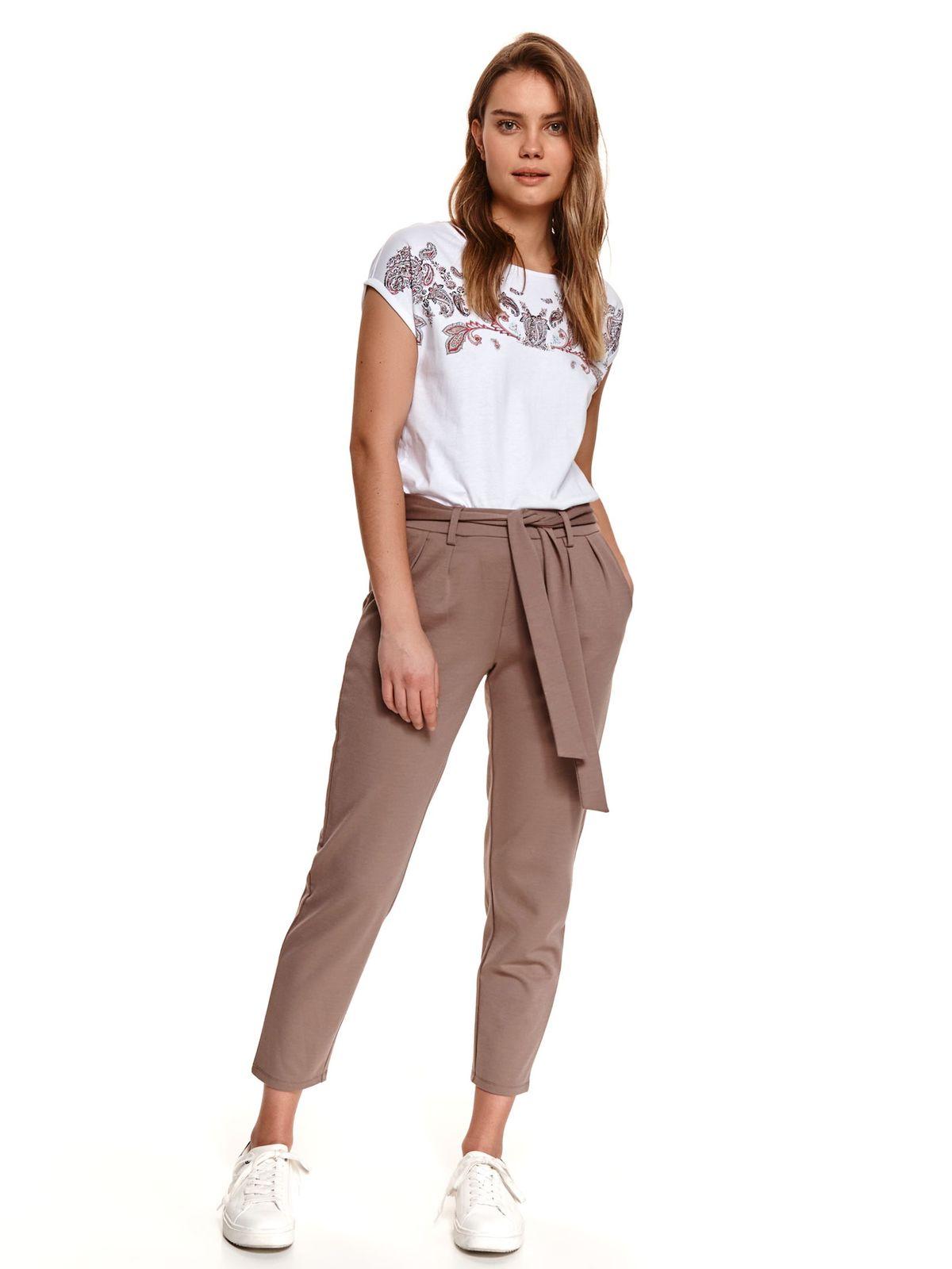 Pantaloni Top Secret maro-deschis conici cu buzunare accesorizati cu cordon