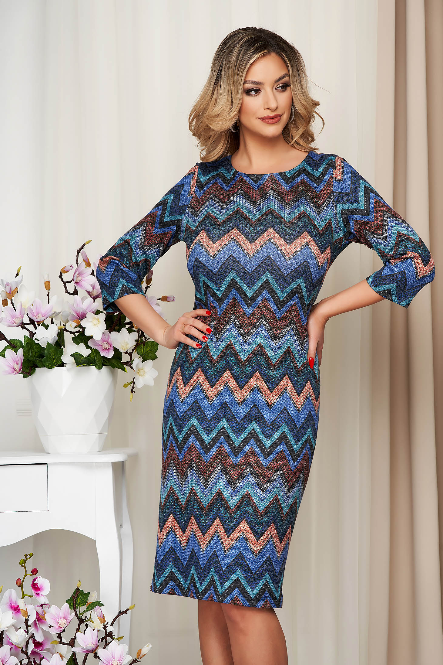 Rochie albastra midi tip creion din tricot elastic