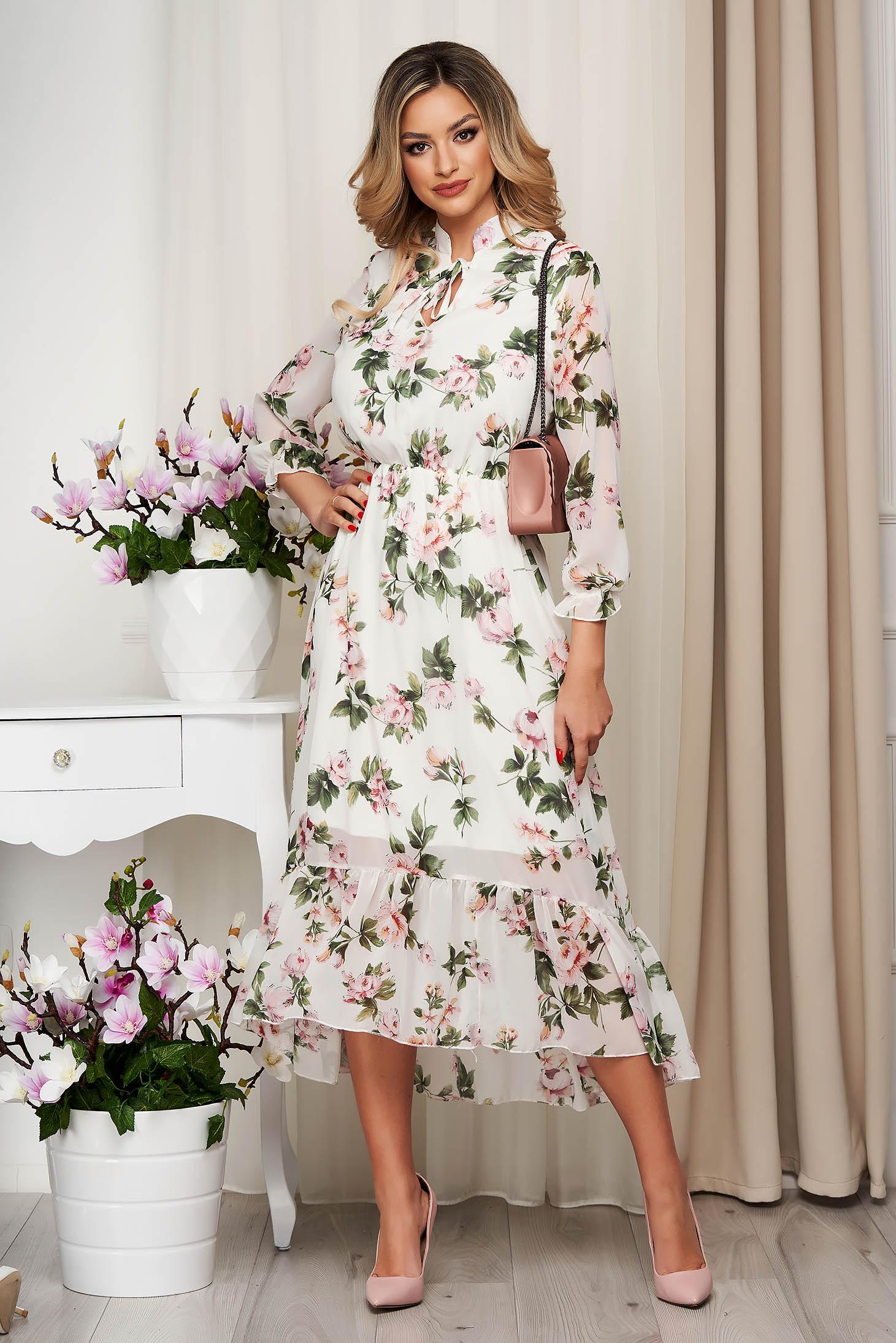 Rochie cu imprimeu floral din voal clos cu elastic in talie captusita pe interior