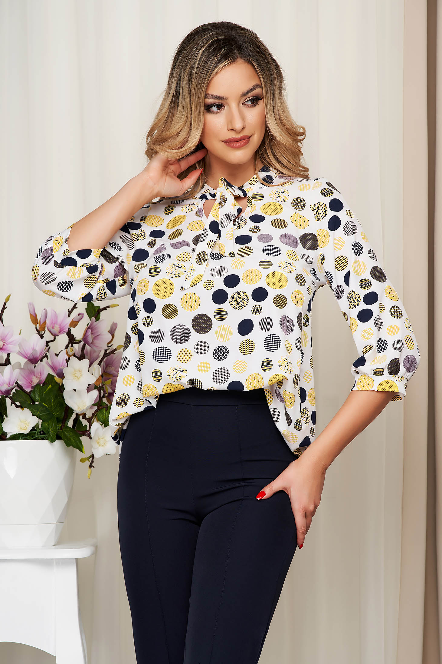 White women`s blouse dots print office soft fabric from veil fabric loose fit