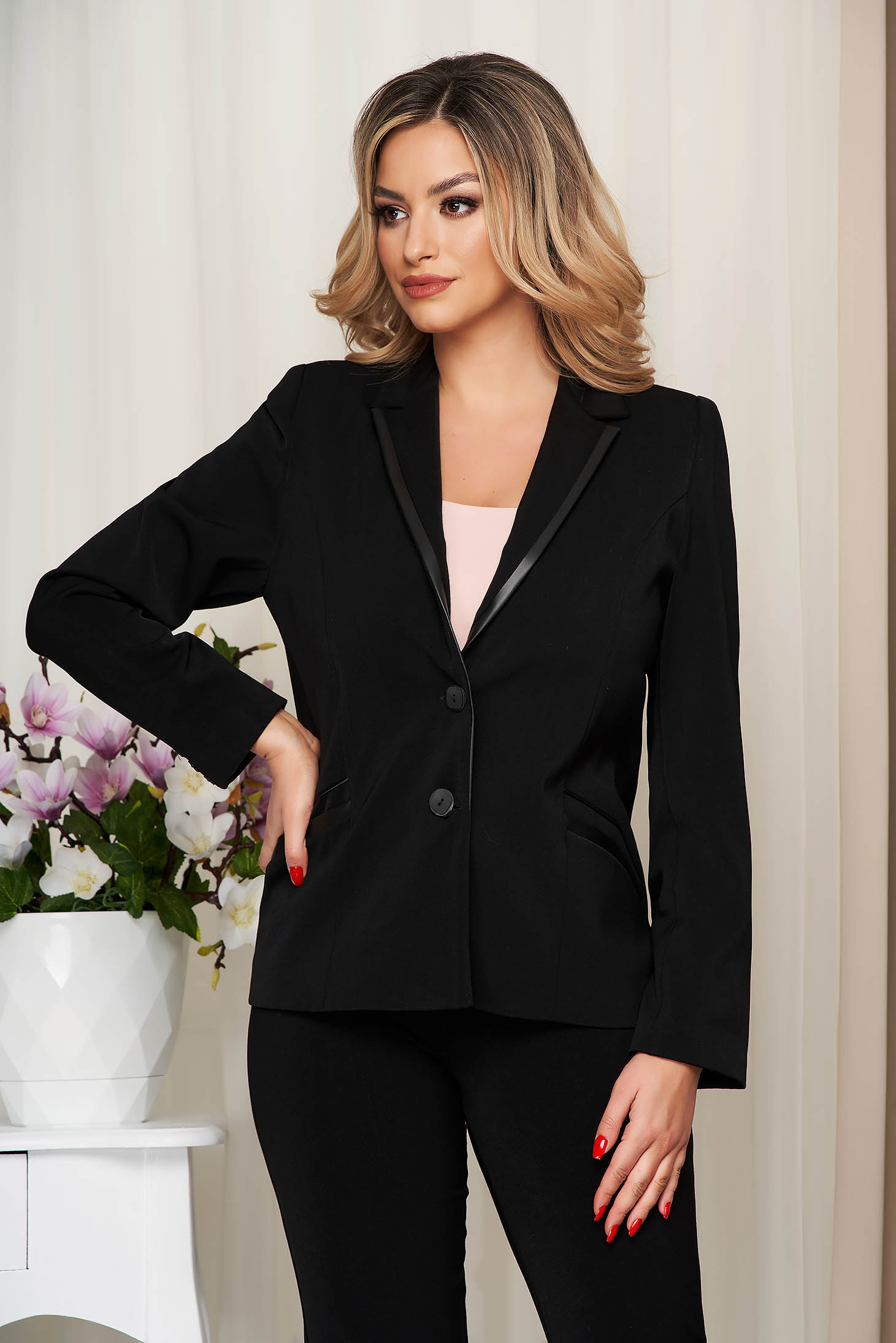 Black jacket tented classical with faux pockets from non elastic fabric