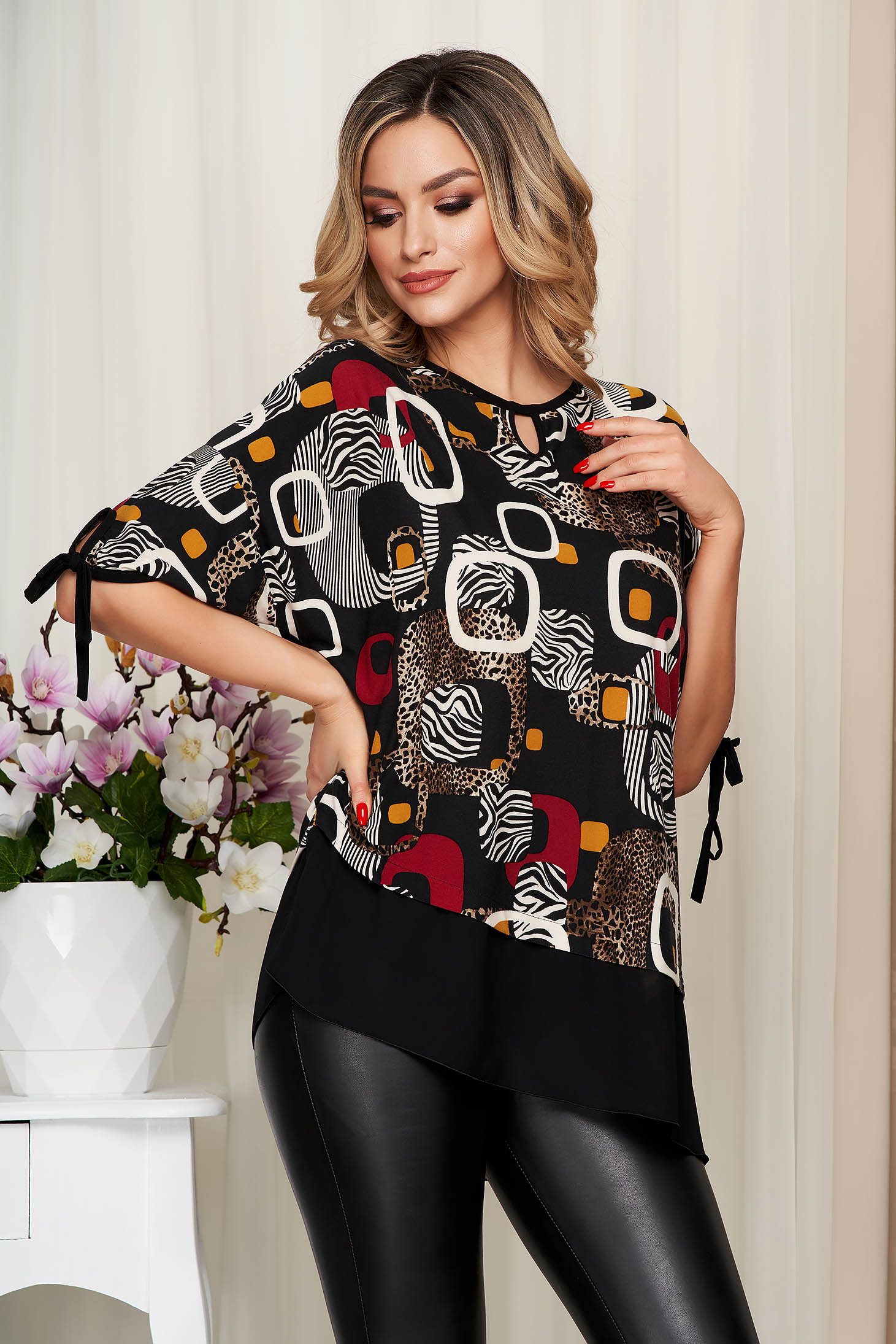 Black women`s blouse voile details from elastic and fine fabric loose fit