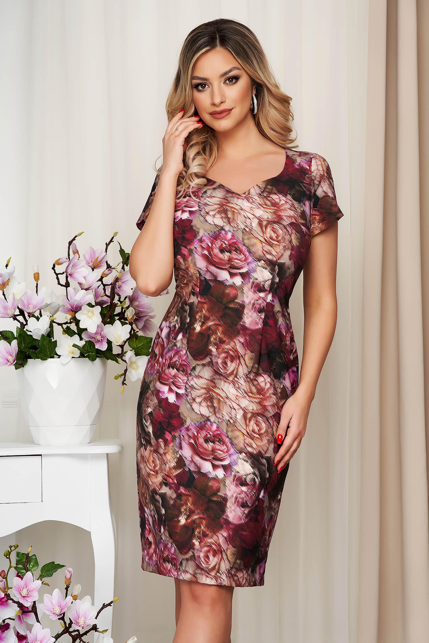 Rochie caramizie cu imprimeu floral din material elastic tip creion captusita pe interior