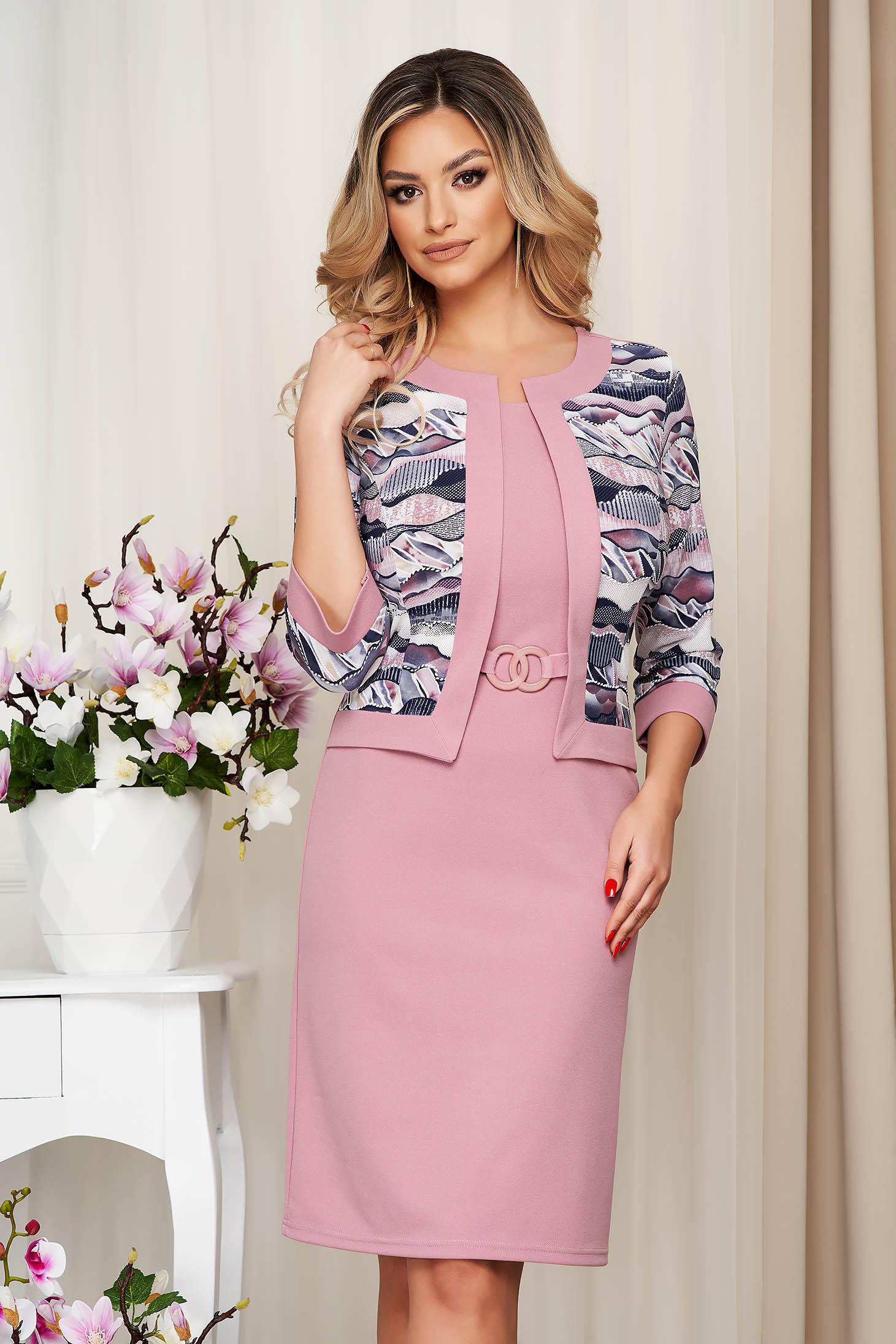Pink dress pencil slightly elastic fabric