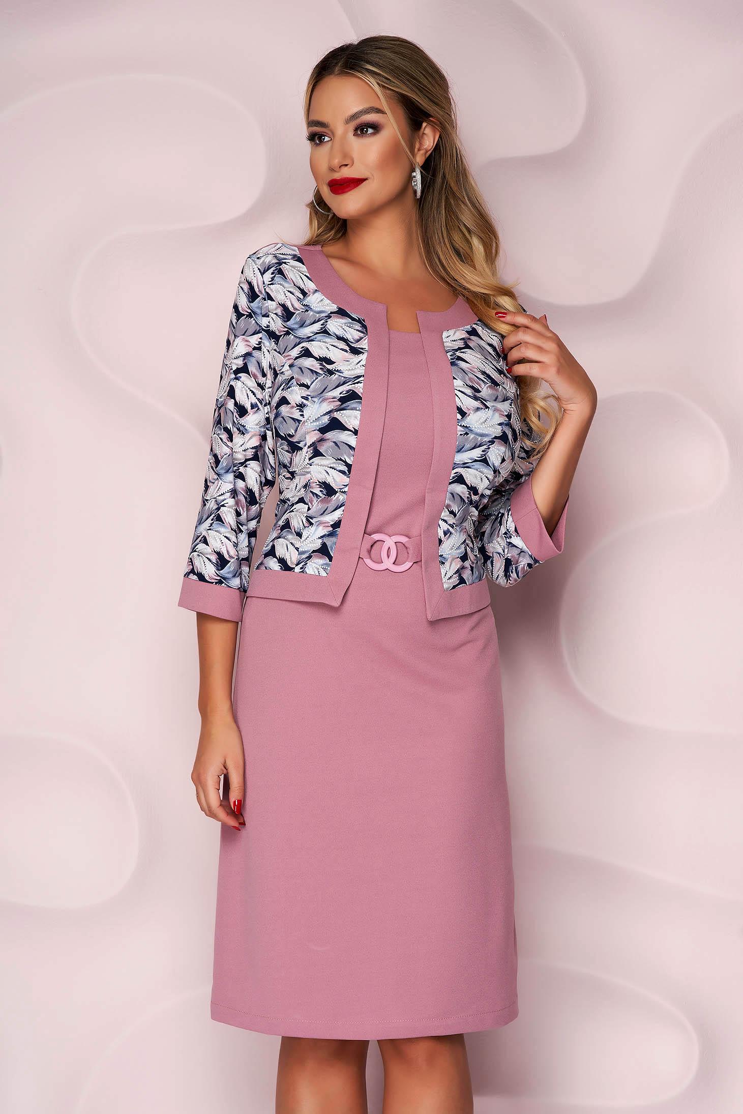 Pink dress pencil slightly elastic fabric elegant midi accessorized with belt