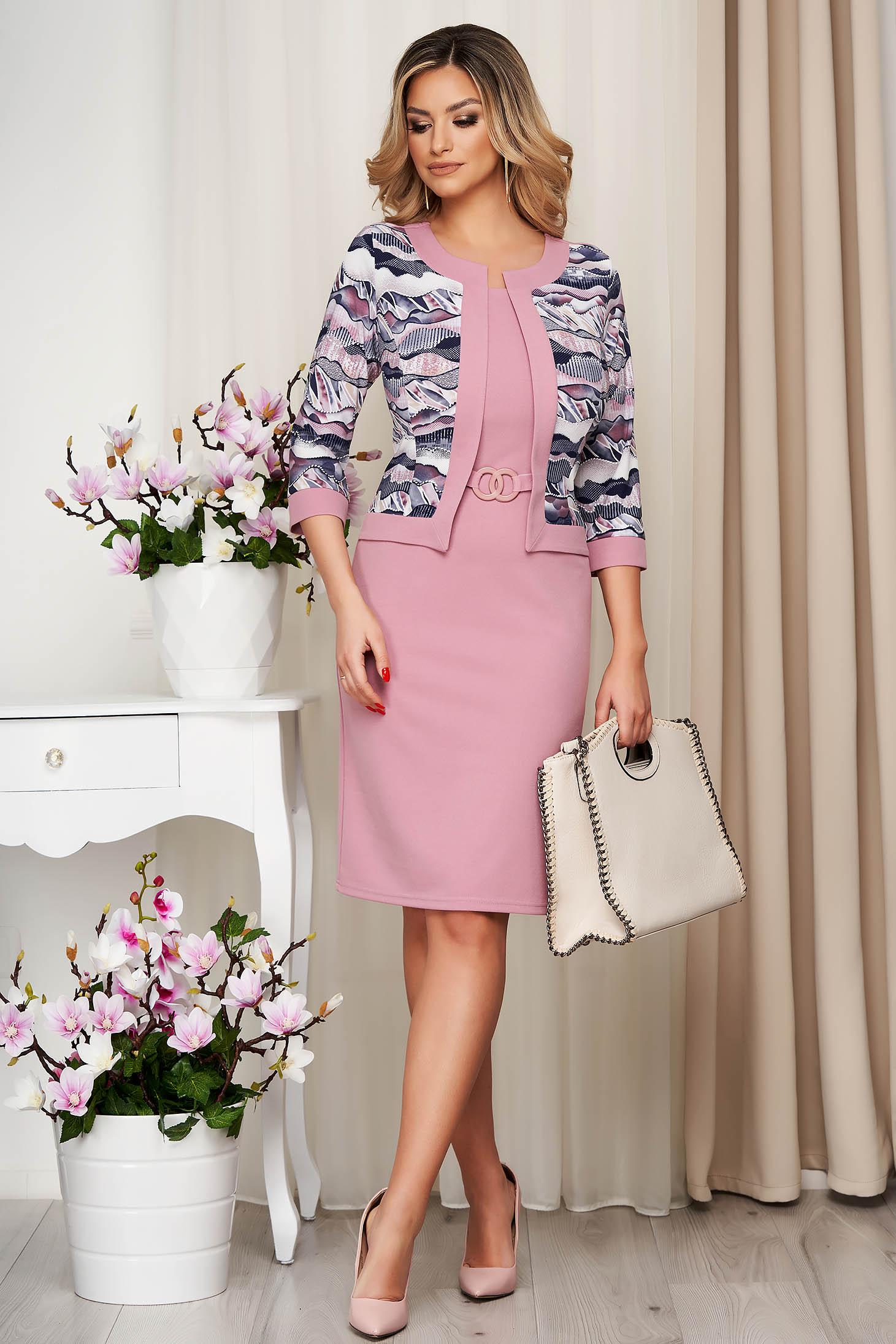 Rochie Lady Pandora roz tip creion din material usor elastic cu cardigan fals