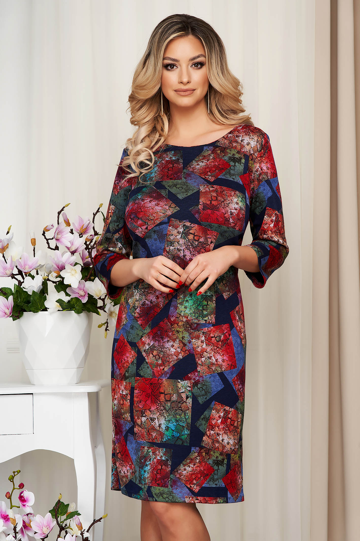 Darkblue dress midi pencil knitted thick fabric from elastic and fine fabric