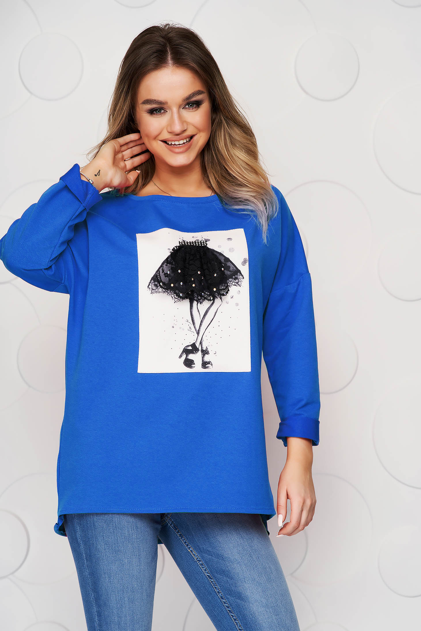 Blue women`s blouse elastic cotton with graphic details