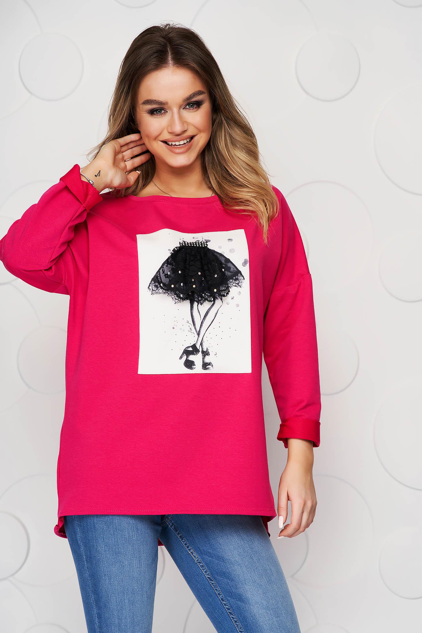 Bluza dama SunShine roz din bumbac elastic slit lateral cu imprimeuri grafice