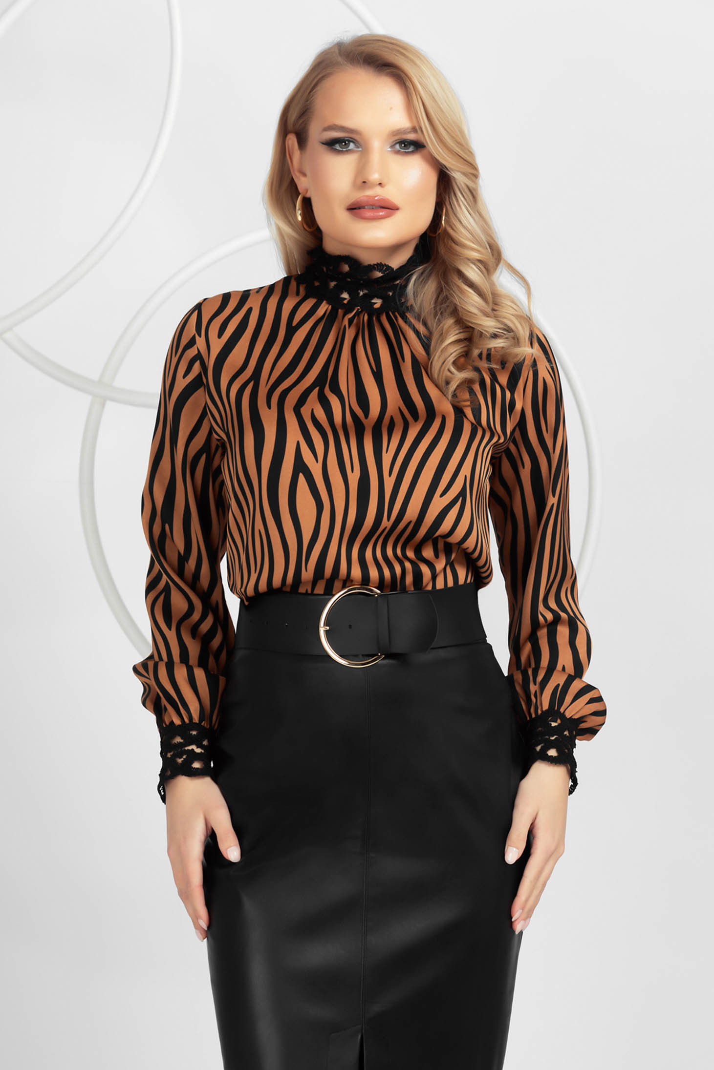 Animal print brown from satin women`s blouse nonelastic fabric with lace details