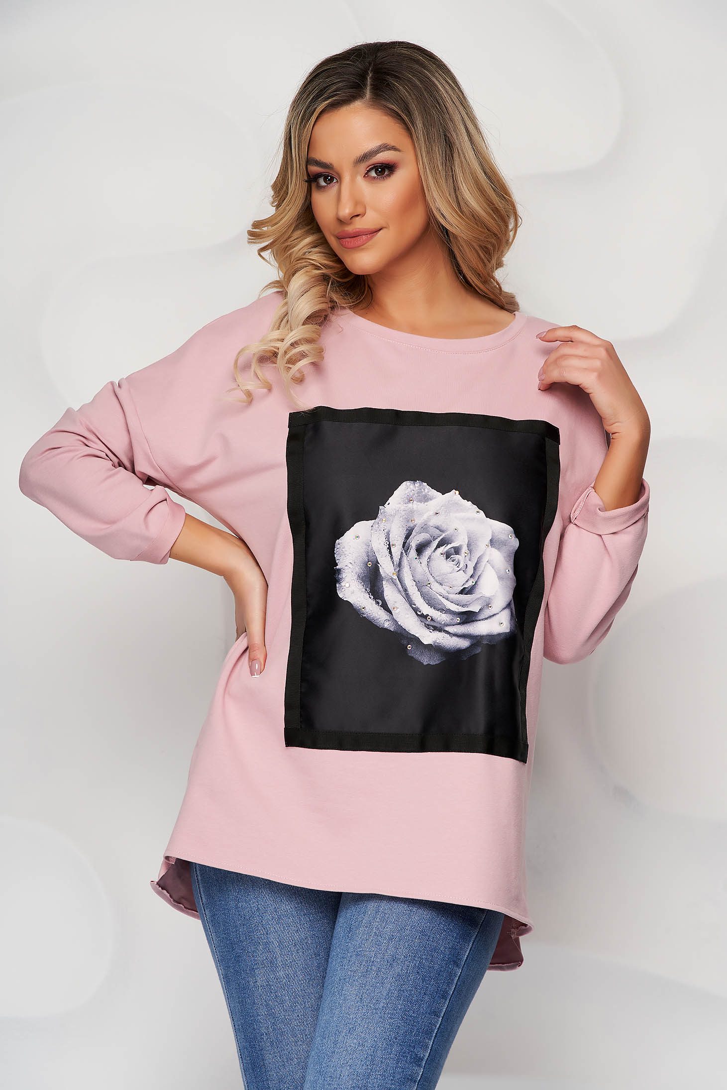 Lightpink women`s blouse elastic cotton loose fit with graphic details