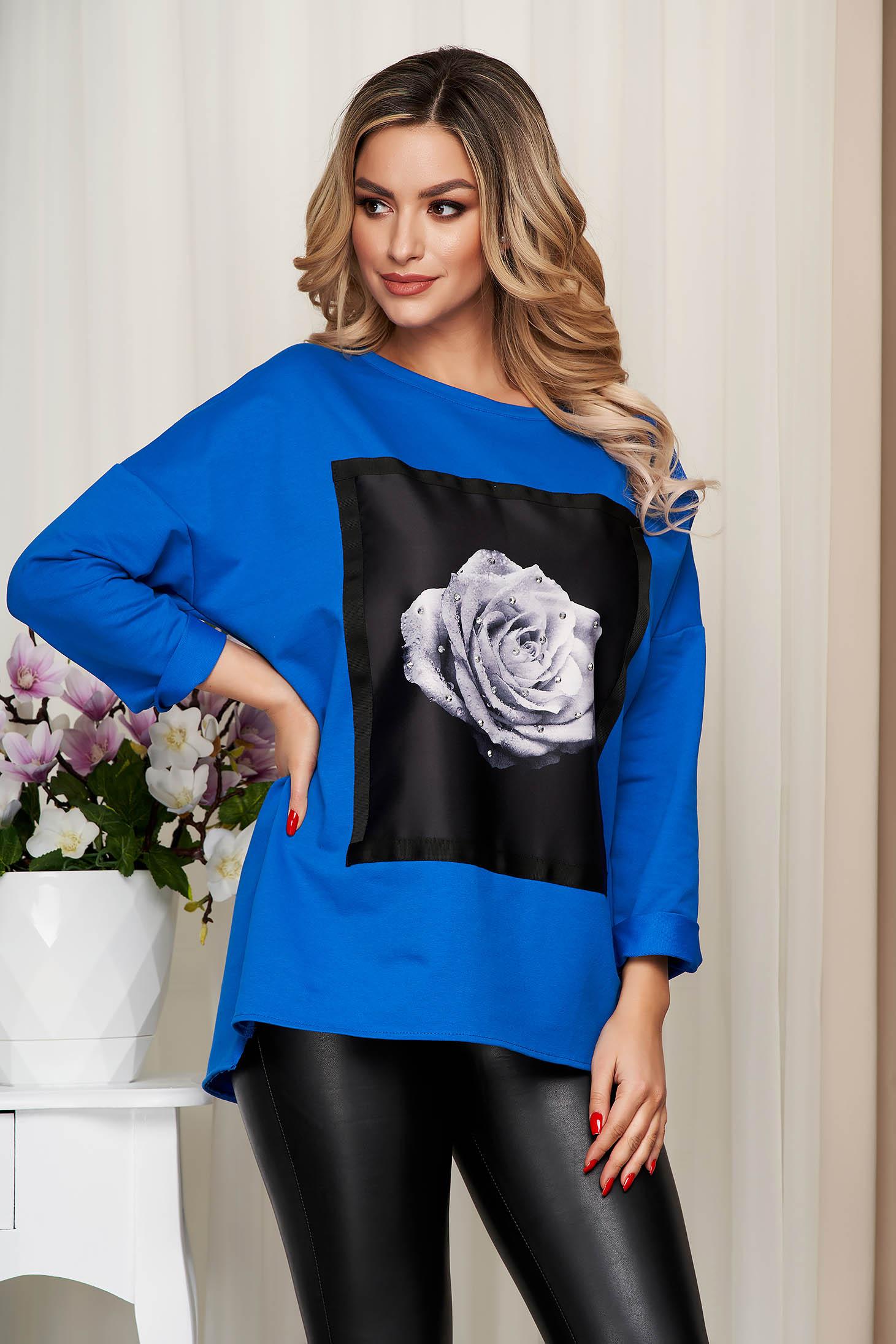 Blue women`s blouse elastic cotton loose fit with graphic details