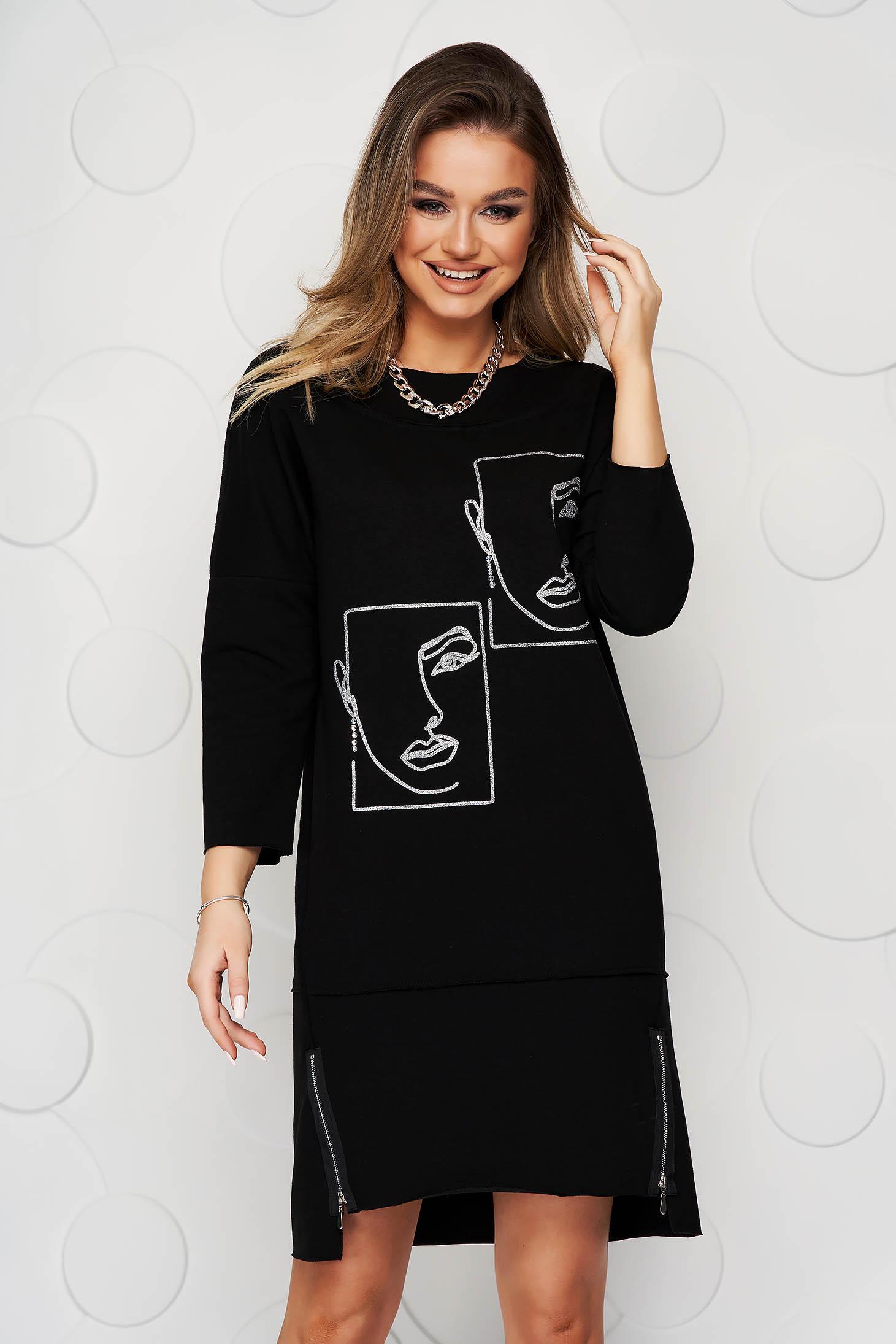 Rochie SunShine neagra midi din bumbac cu imprimeuri grafice cu croi larg si fermoare