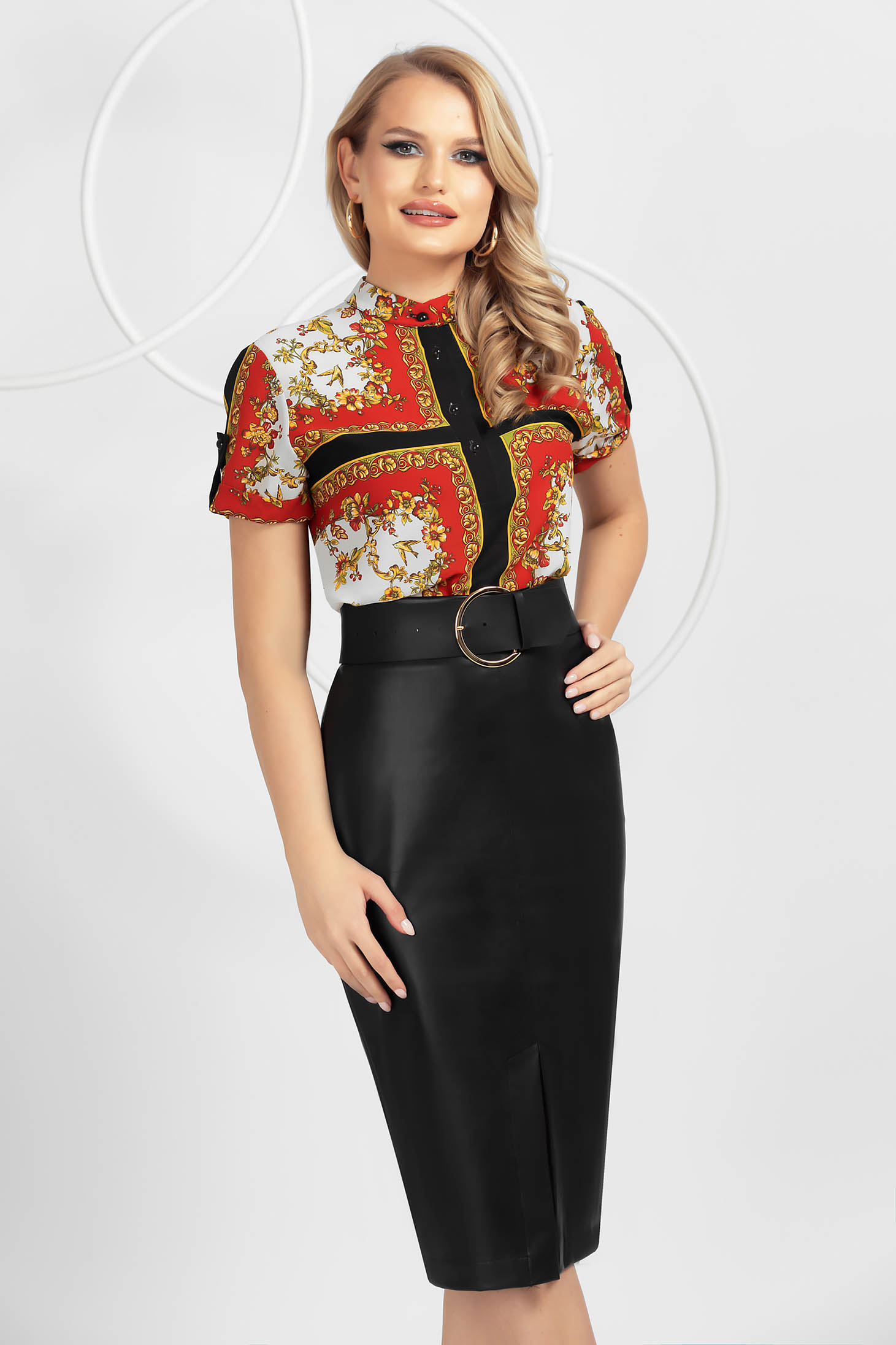 Black from ecological leather midi pencil skirt accessorized with belt frontal slit