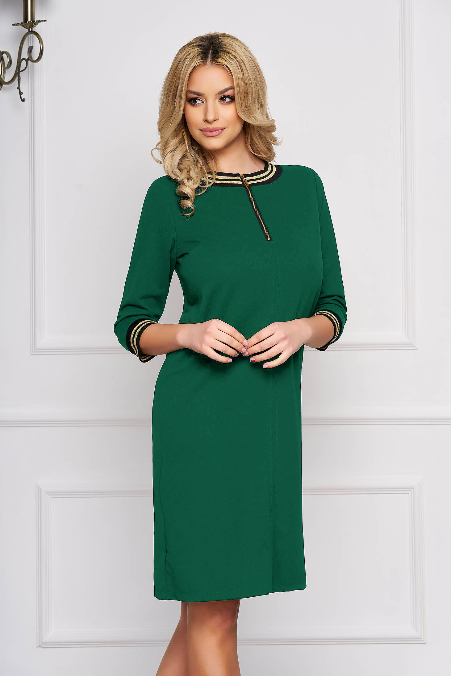 Rochie StarShinerS verde eleganta scurta din stofa accesorizata cu fermoar
