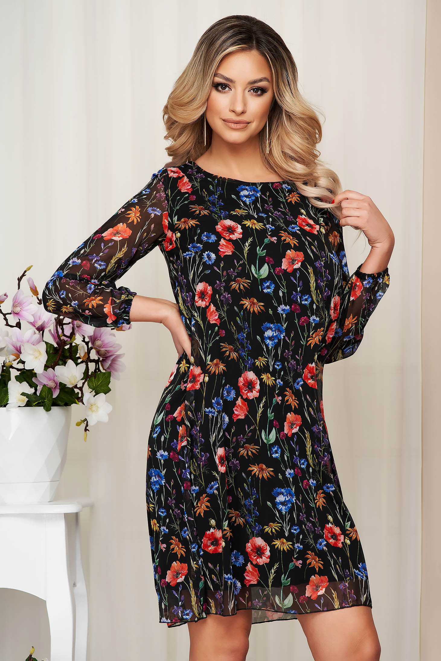Black dress from veil fabric with floral print with inside lining