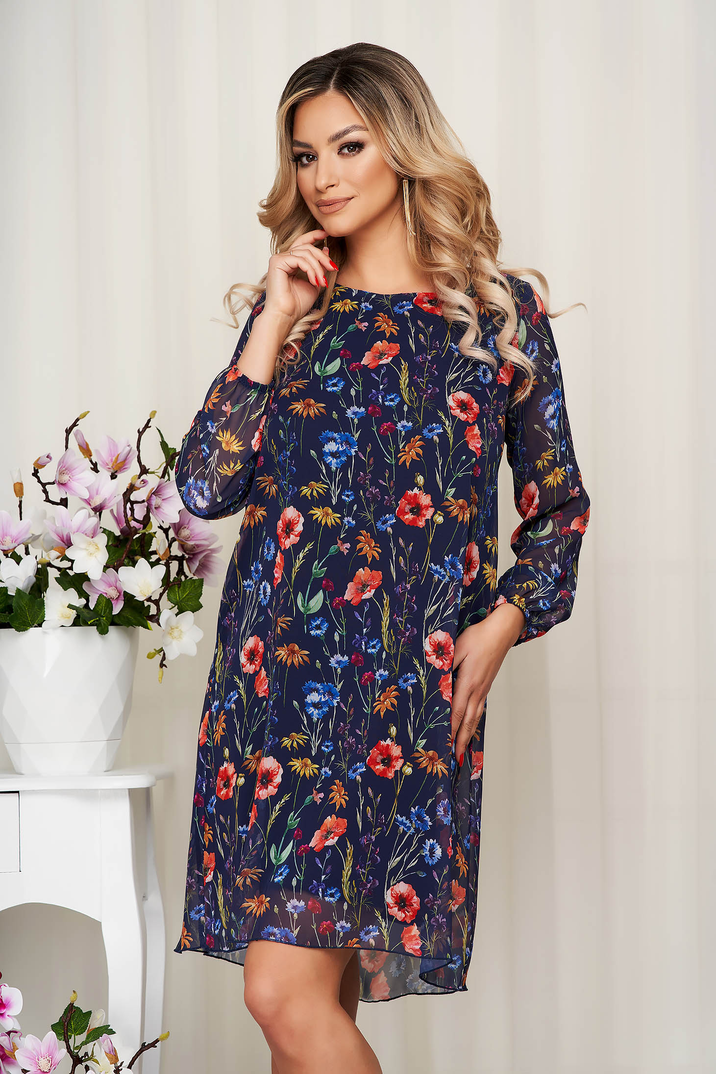 Darkblue dress from veil fabric with floral print with inside lining