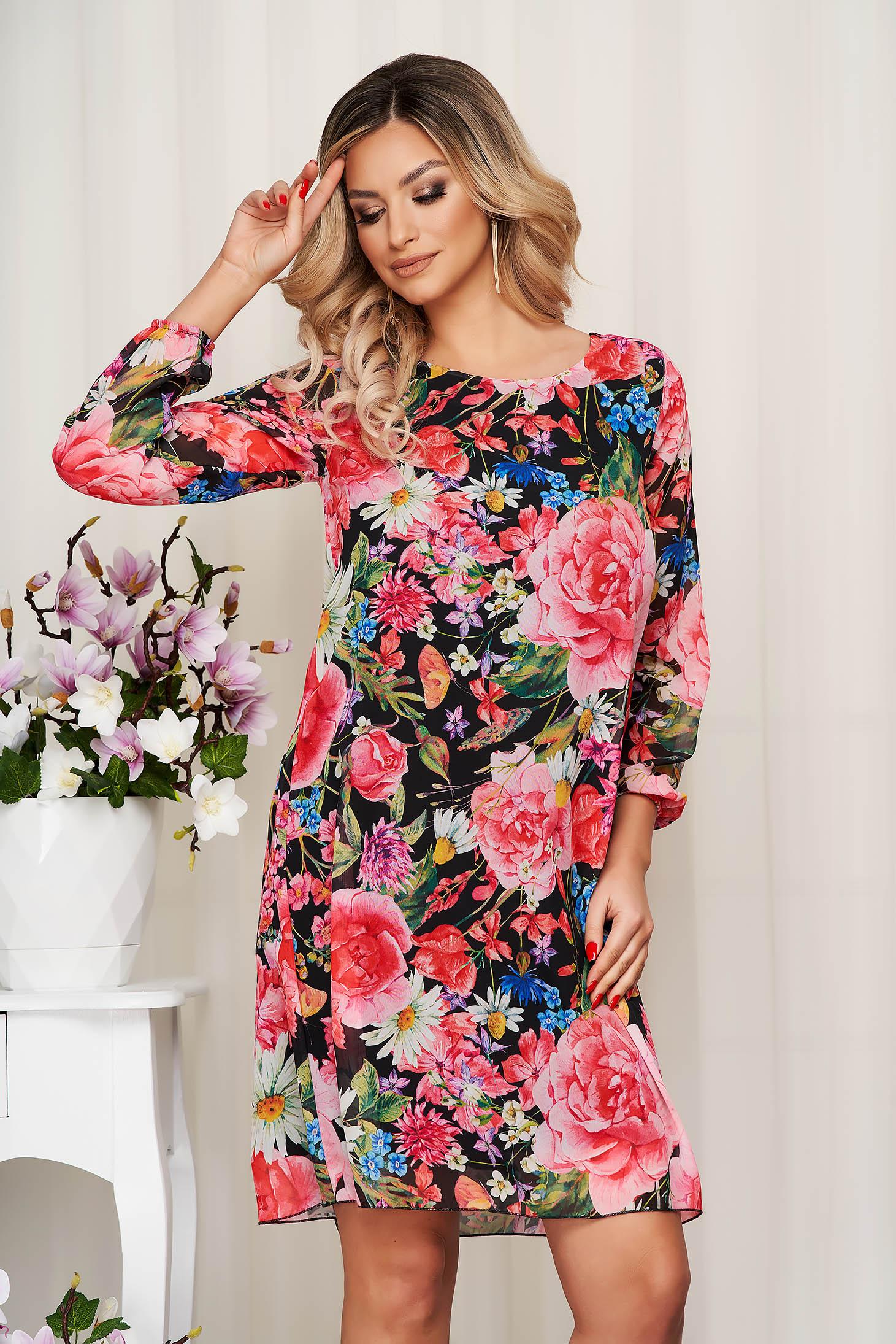 Rochie din voal cu imprimeu floral captusita pe interior