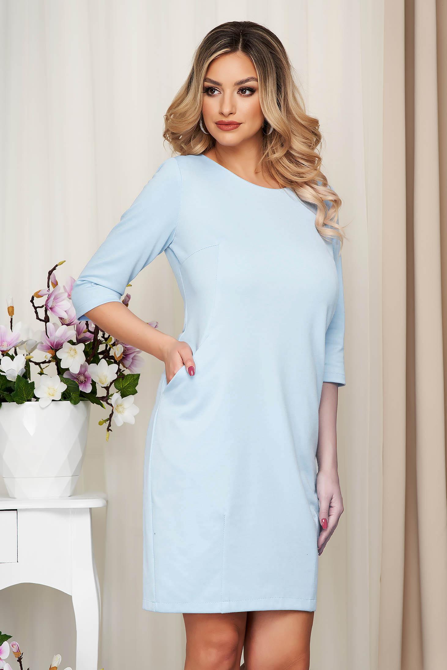 Dress lightblue office slightly elastic fabric straight with pockets
