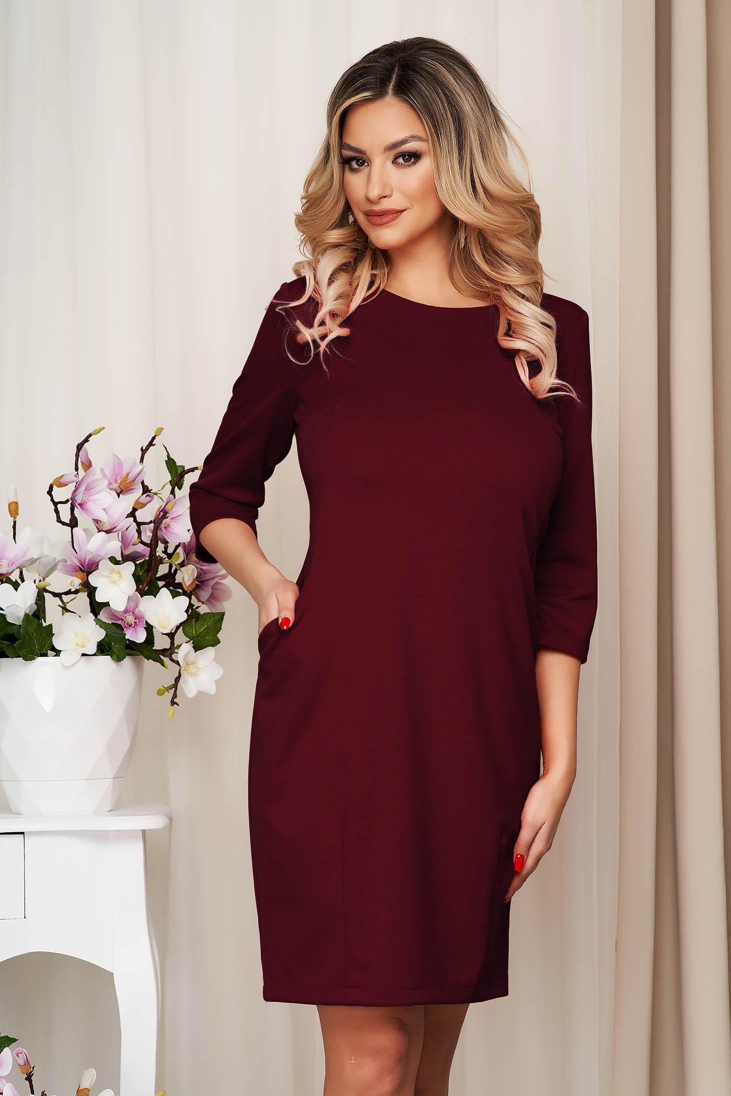 Dress burgundy office slightly elastic fabric straight with pockets
