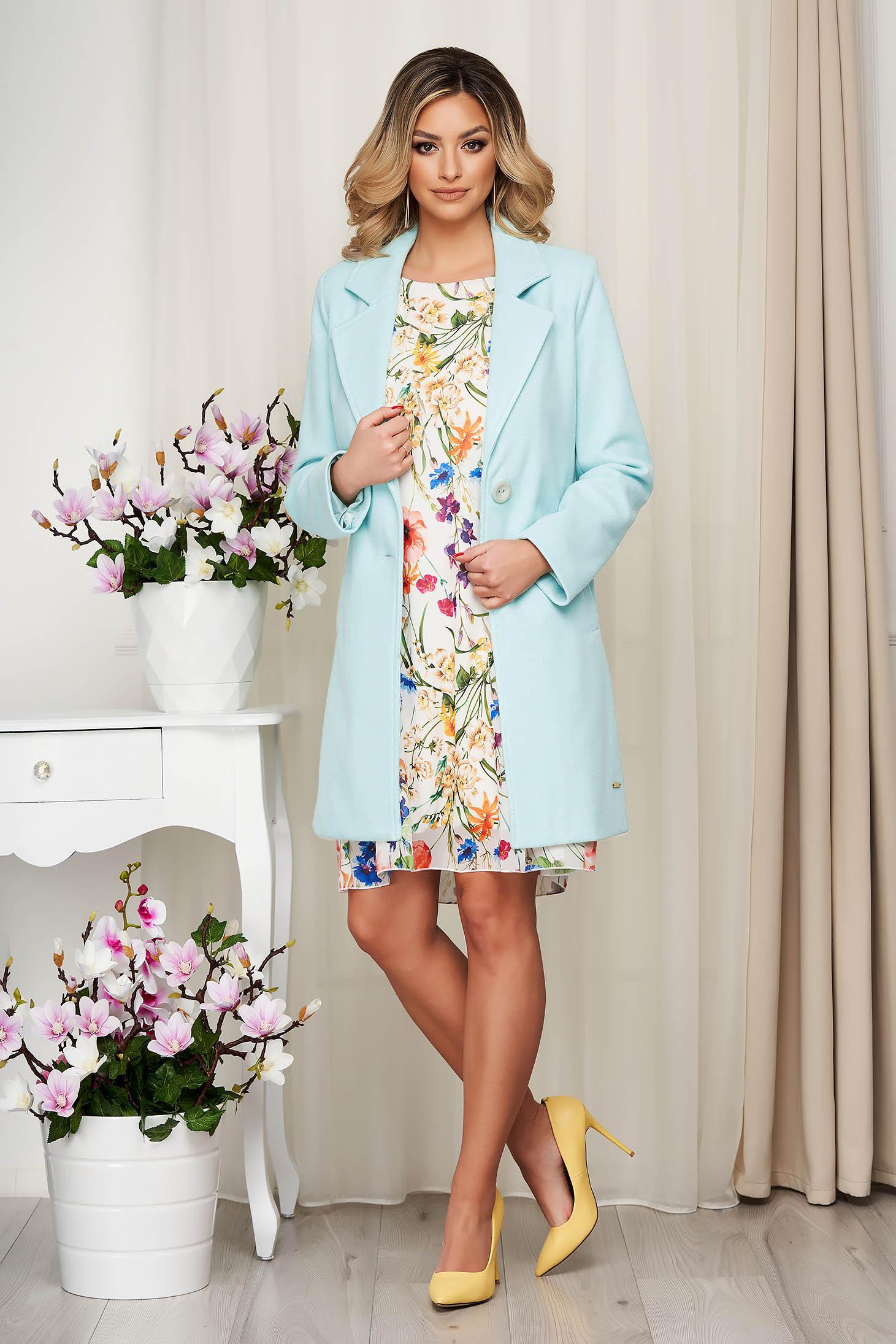 Overcoat lightblue soft fabric straight short cut