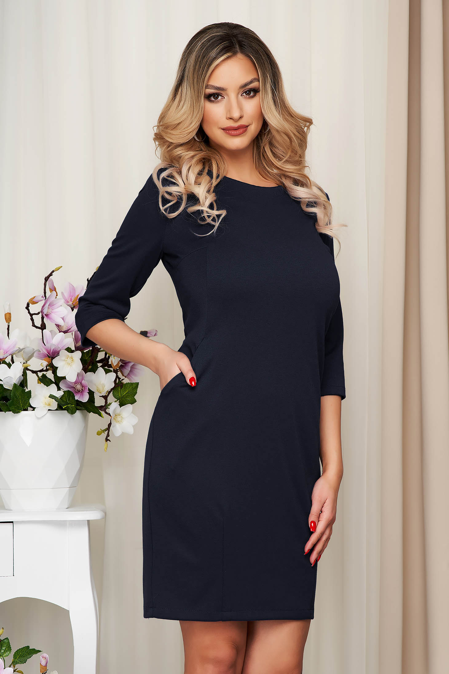 Dress darkblue office slightly elastic fabric straight with pockets