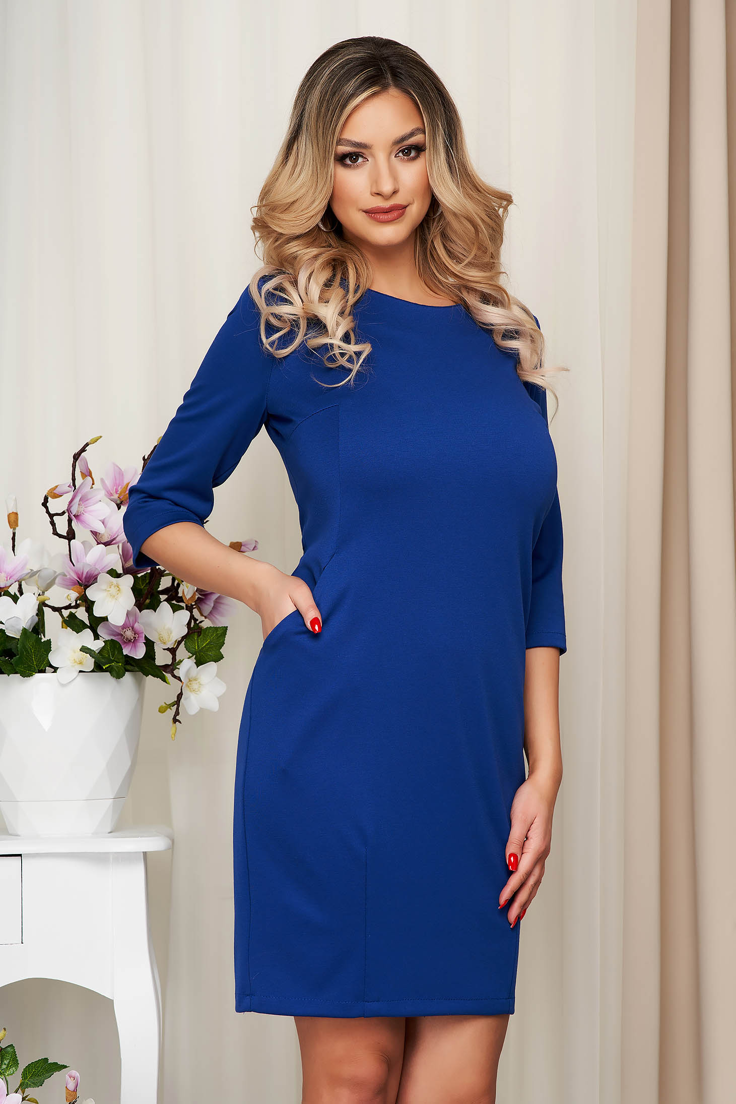 Dress office slightly elastic fabric straight with pockets