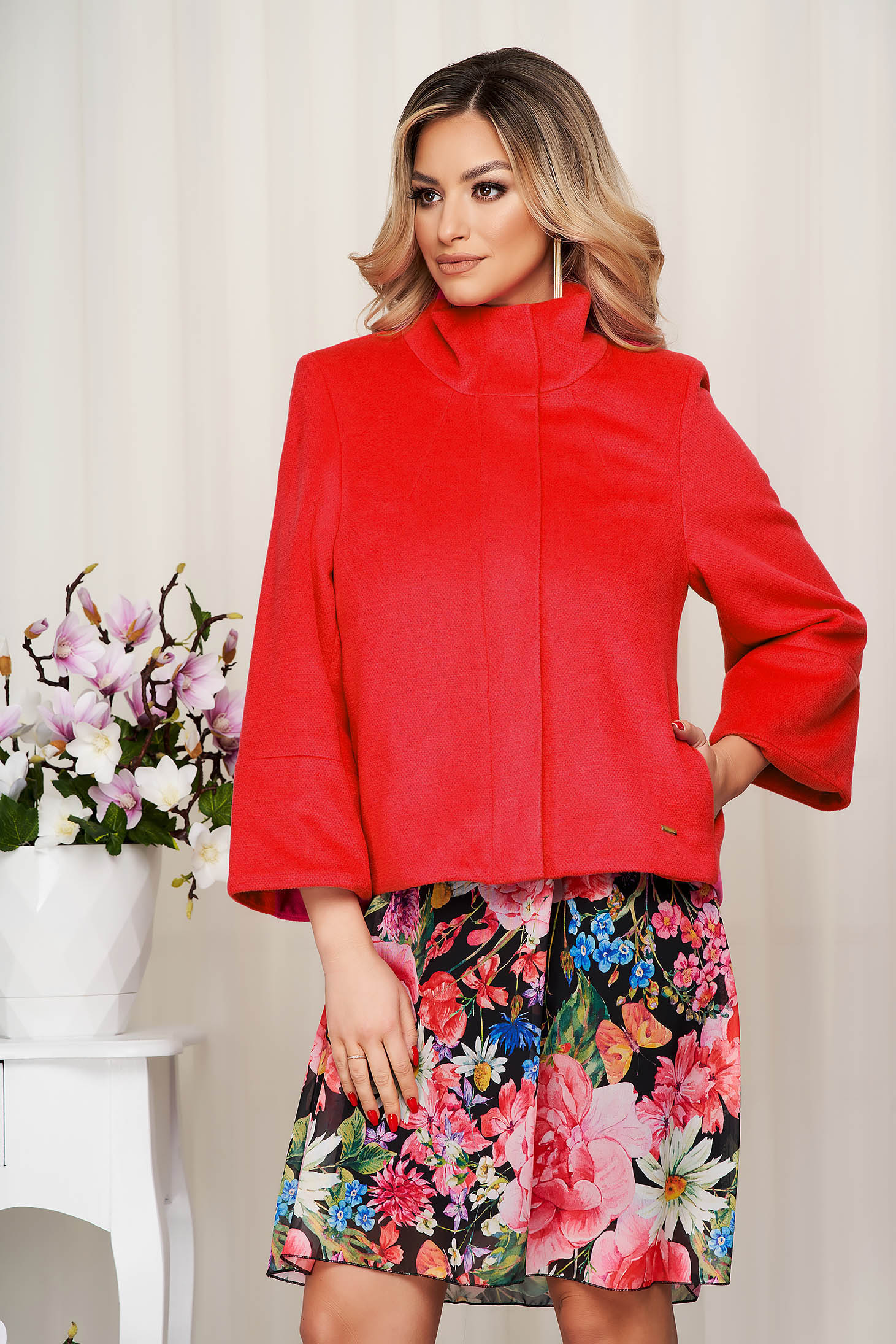 Jacket red loose fit with bell sleeve from fluffy fabric soft fabric