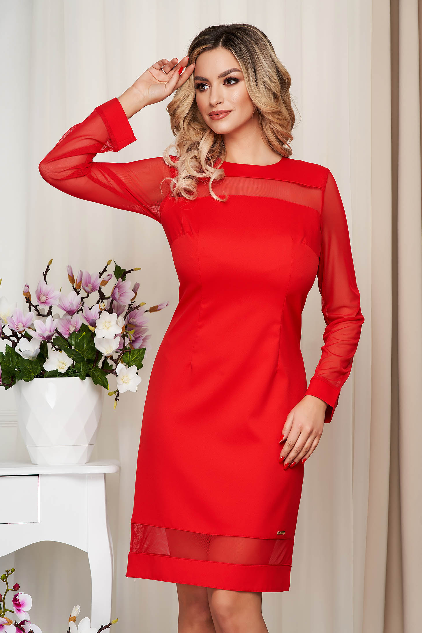 Dress red office from non elastic fabric straight