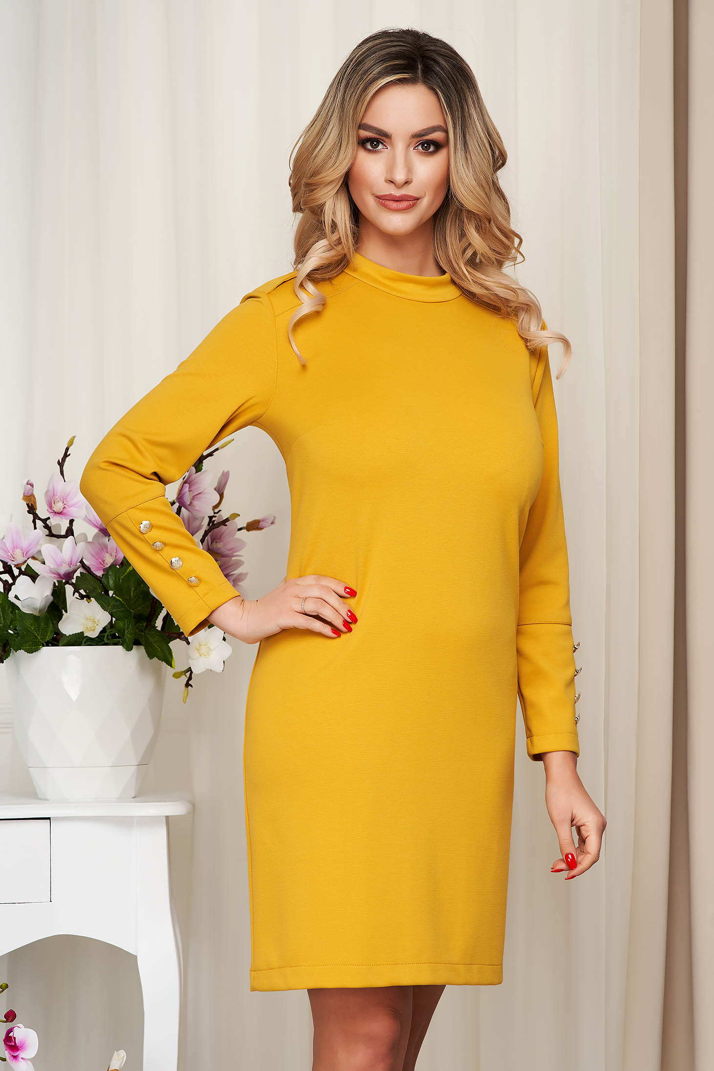 Dress mustard from elastic fabric straight with button accessories
