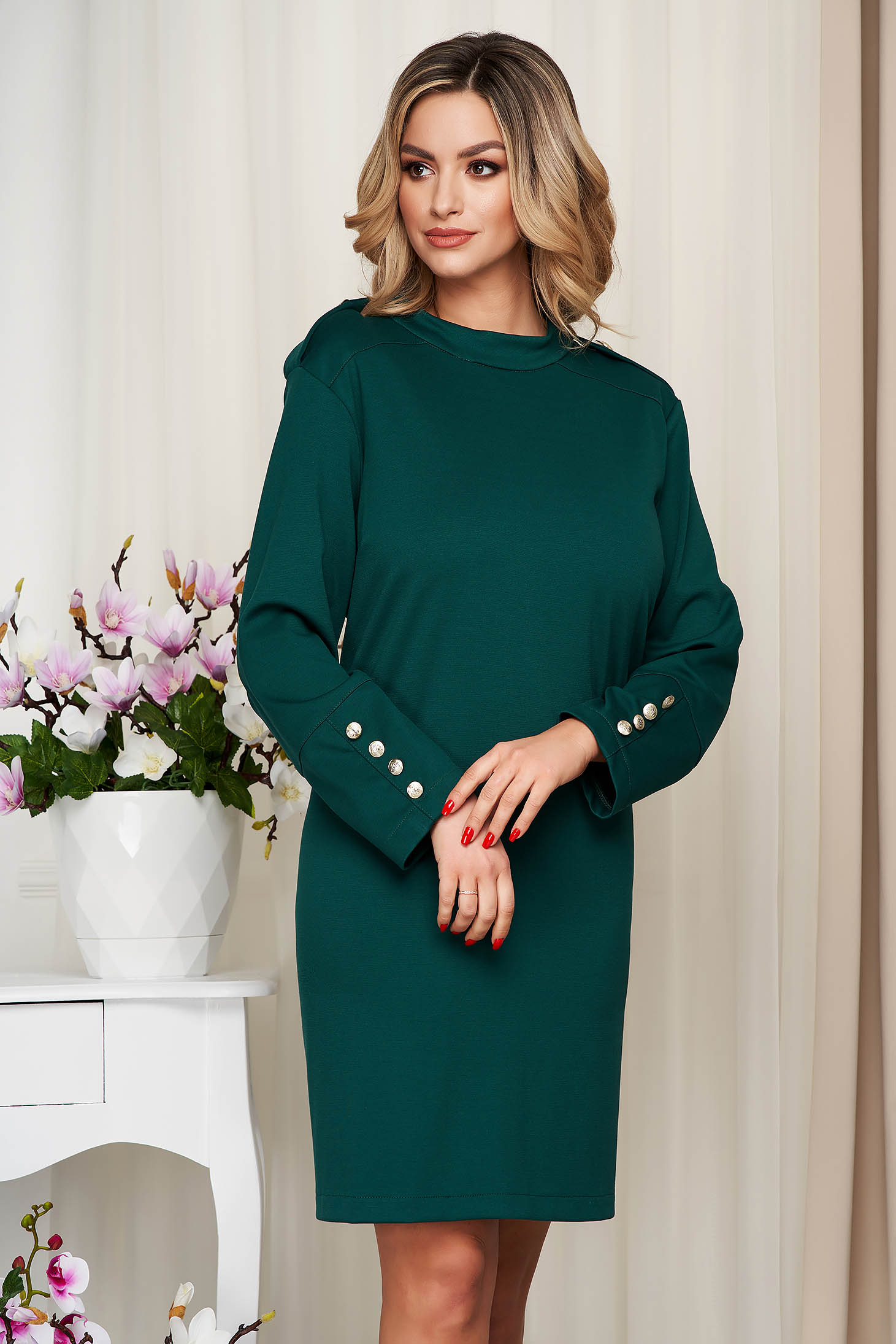 Dress green from elastic fabric straight with button accessories